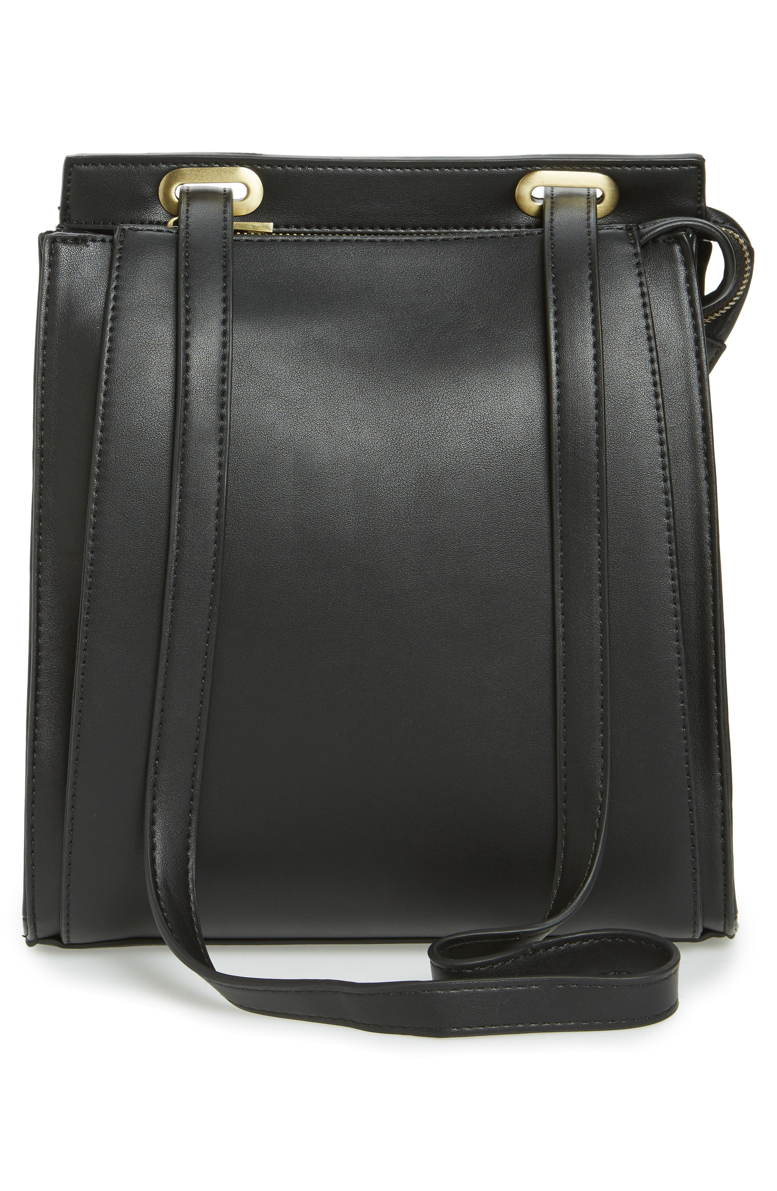 STREET LEVEL, Faux Leather Convertible Backpack, Alternate thumbnail 4, color, 002