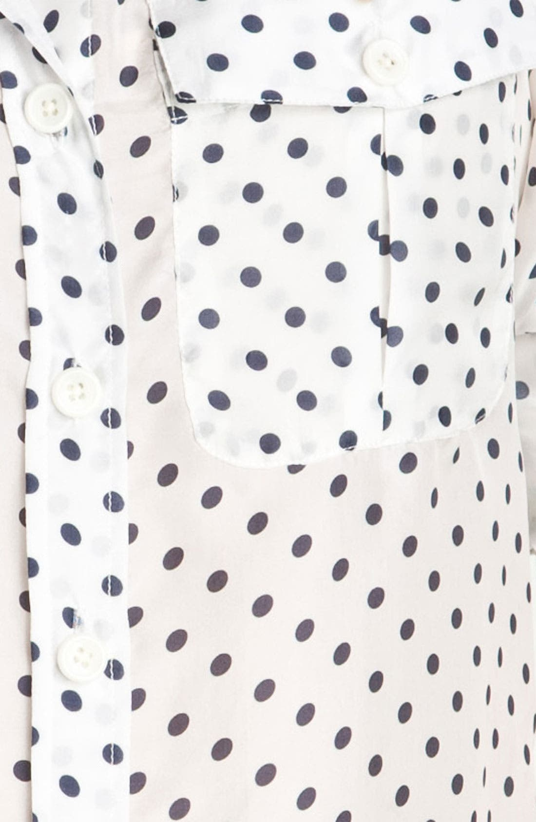 BELLEFLEUR, Polka Dot Voile Shirt, Alternate thumbnail 3, color, 119