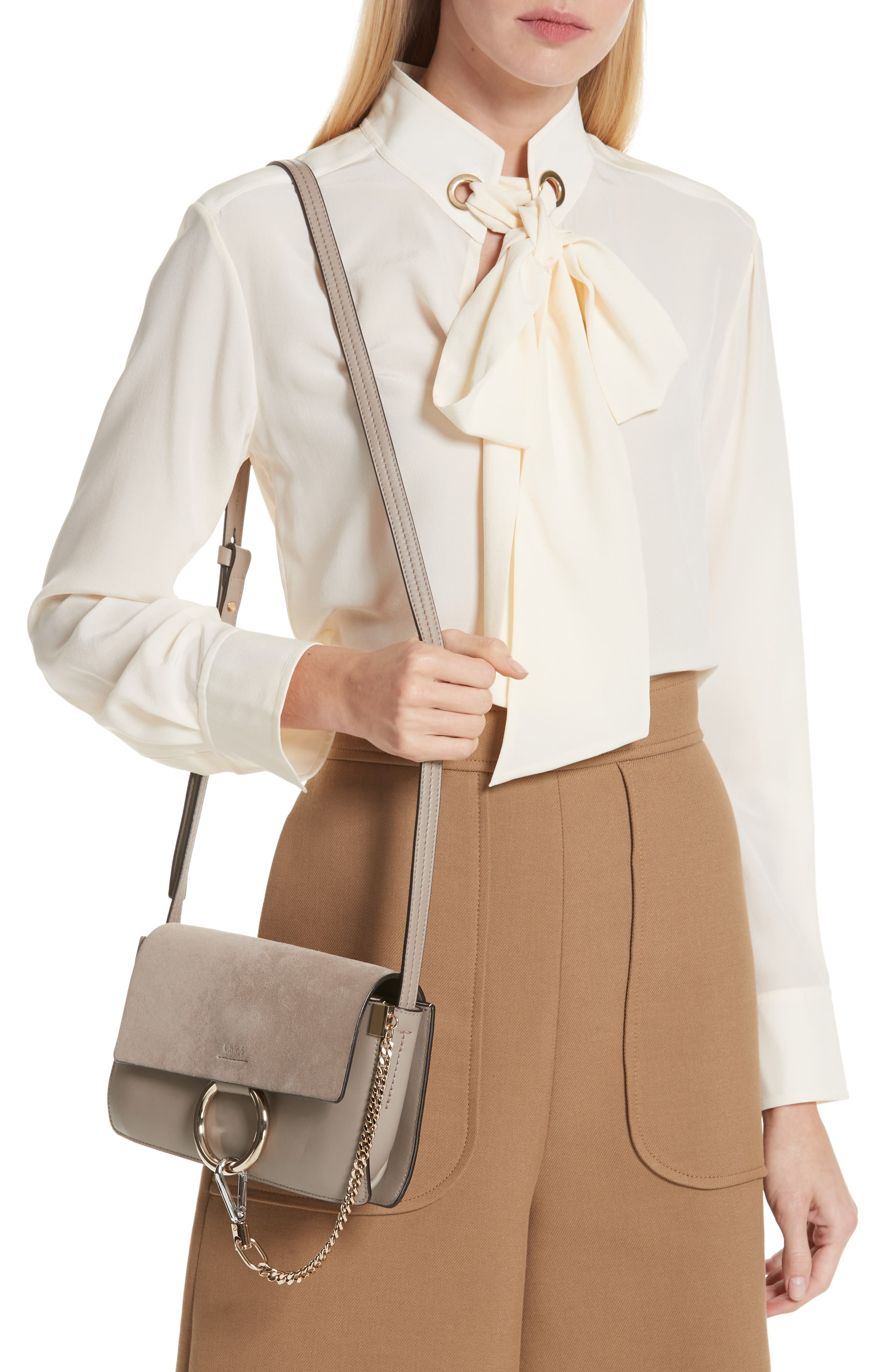 CHLOÉ, Small Faye Leather Shoulder Bag, Alternate thumbnail 2, color, MOTTY GREY