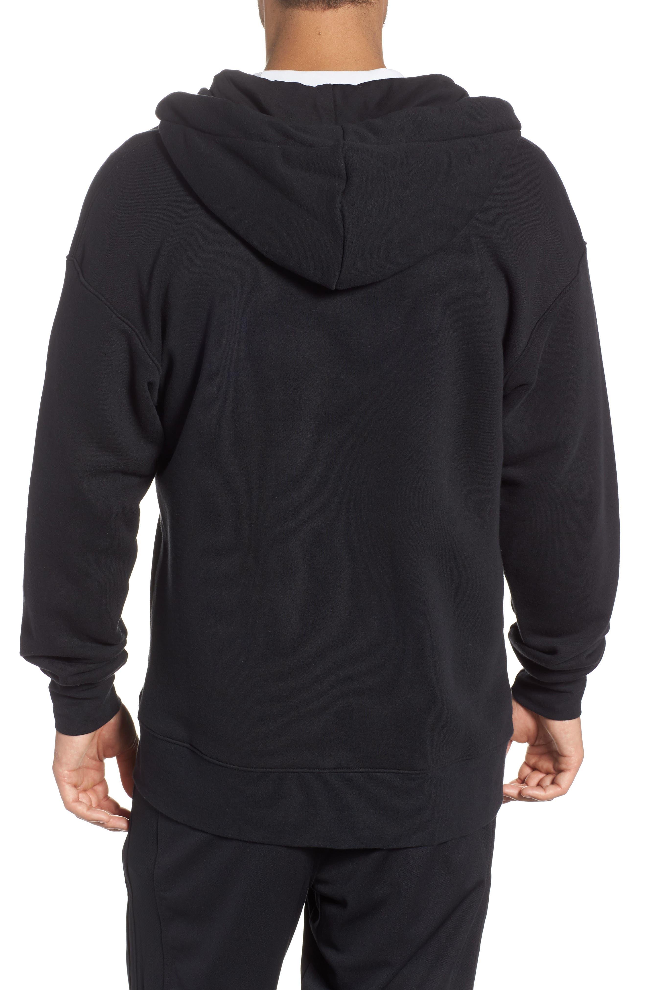 NIKE, Sportswear Heritage Zip Hoodie, Alternate thumbnail 2, color, BLACK/ SAIL