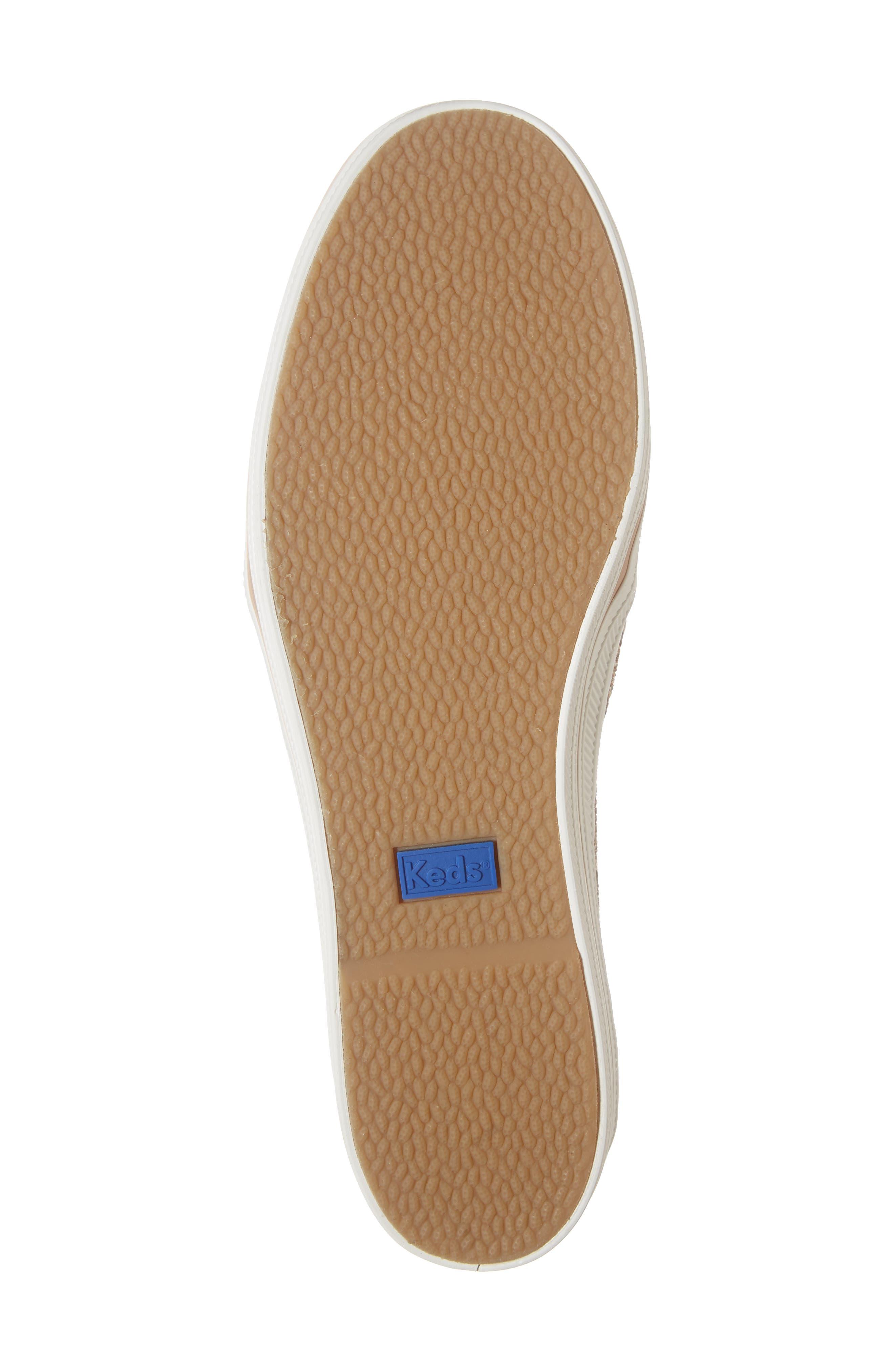 KEDS<SUP>®</SUP> FOR KATE SPADE NEW YORK, triple decker glitter slip-on sneaker, Alternate thumbnail 6, color, ROSE GOLD