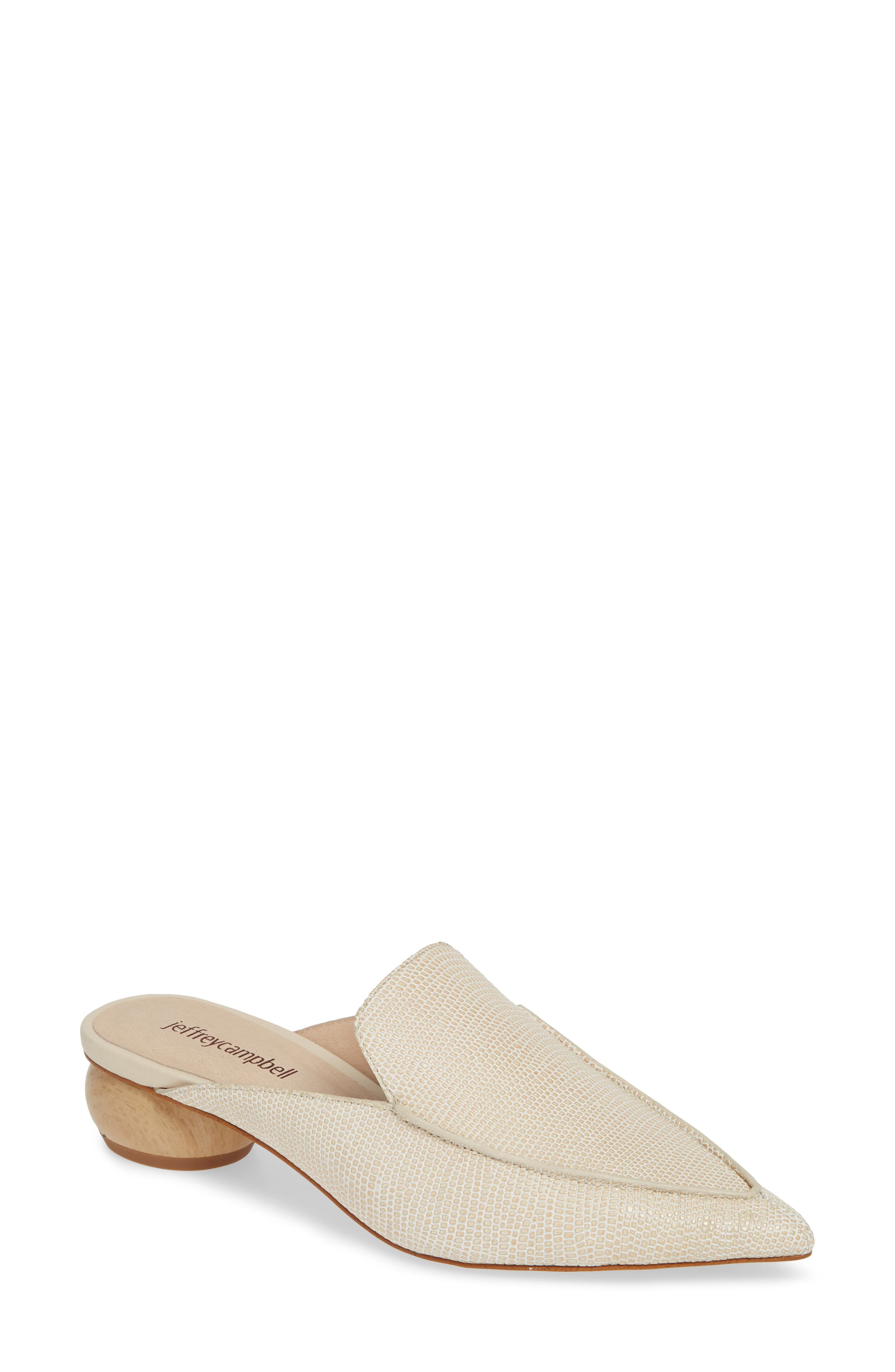 JEFFREY CAMPBELL, Vionit Lizard Embossed Loafer Mule, Main thumbnail 1, color, BEIGE LIZARD PRINT