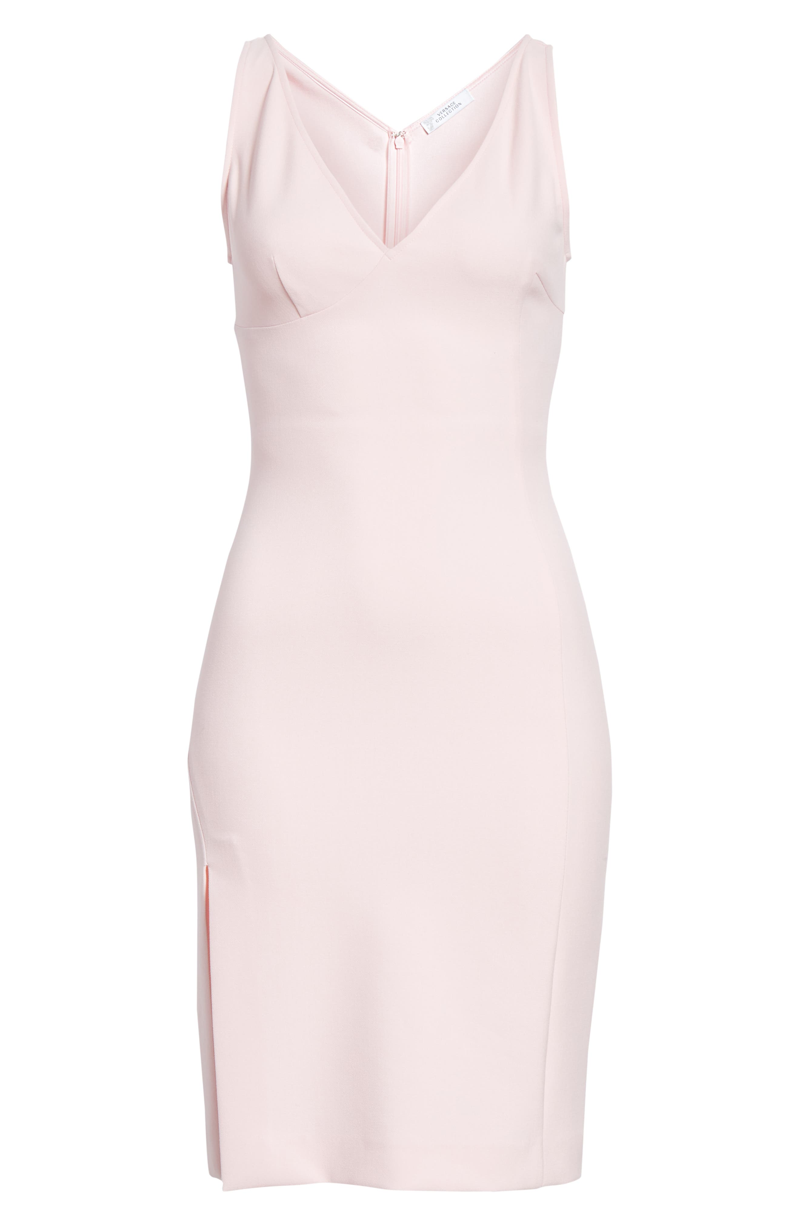 VERSACE COLLECTION, Stretch Cady Sheath Dress, Alternate thumbnail 7, color, PASTEL ROSE