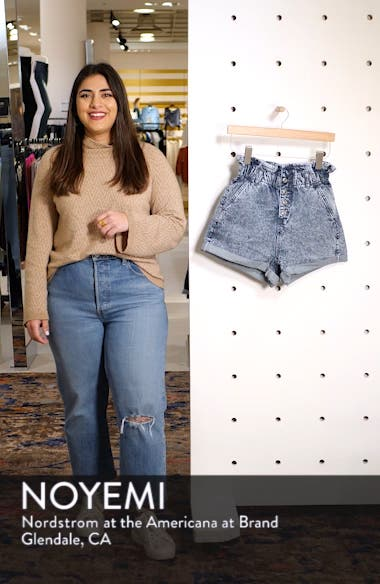 Acid Wash Paperbag Waist Denim Shorts, sales video thumbnail