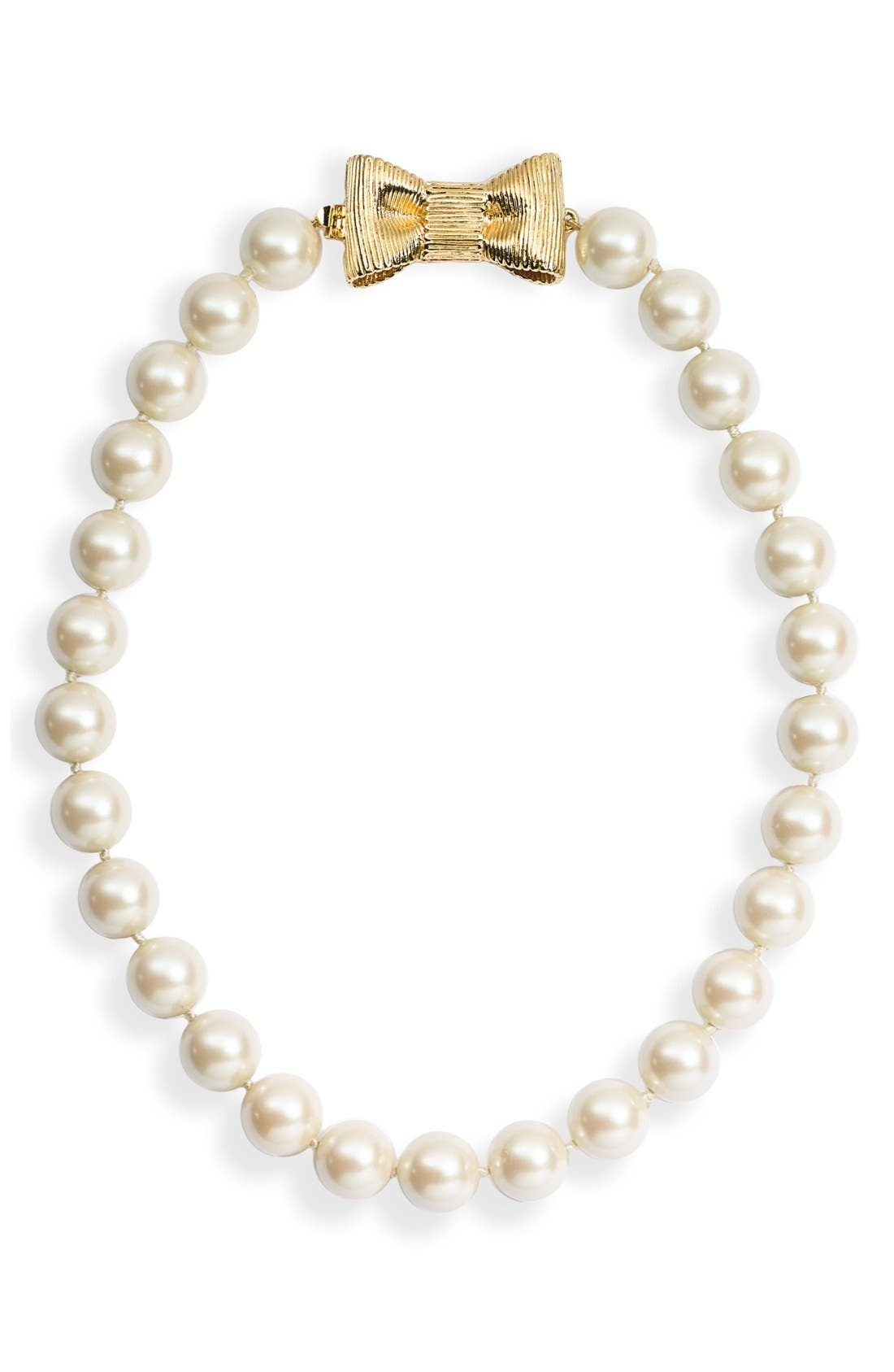 KATE SPADE NEW YORK, 'all wrapped up' short glass pearl necklace, Alternate thumbnail 2, color, 900