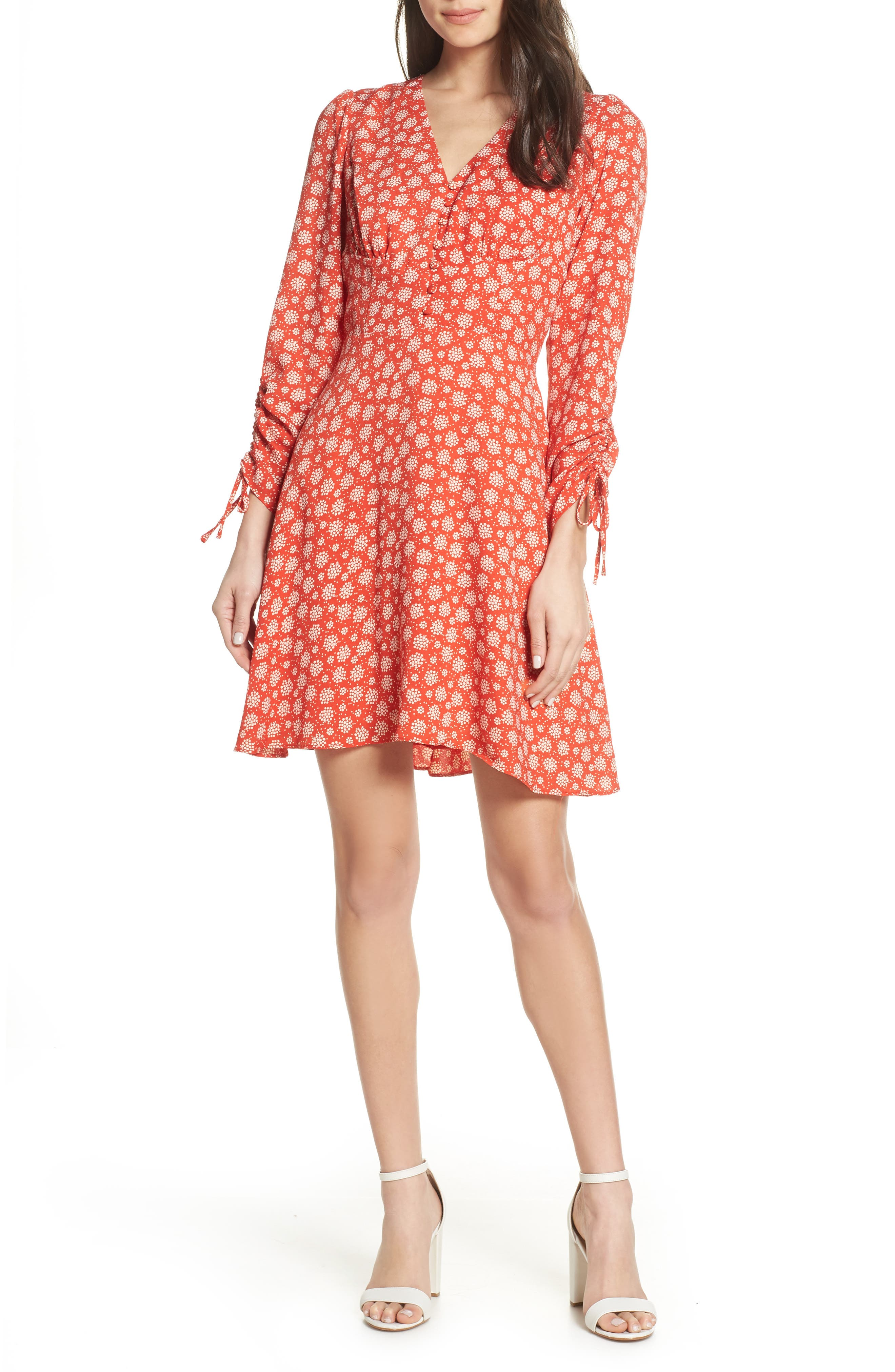 19 COOPER, Ruched Sleeve Fit & Flare Dress, Main thumbnail 1, color, 610