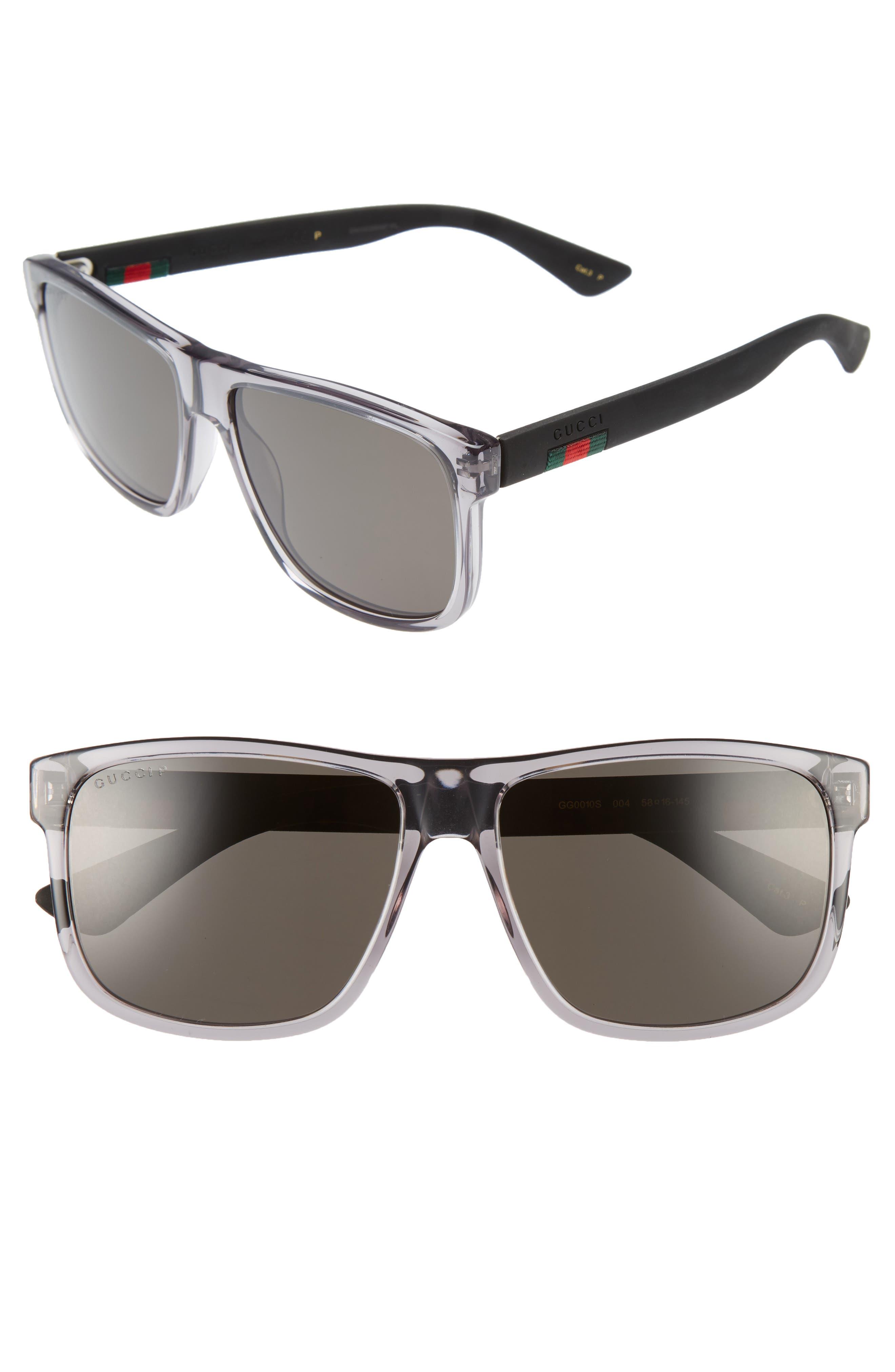 GUCCI 58mm Polarized Sunglasses, Main, color, TRANSPARENT GREY W/ GREY PLR