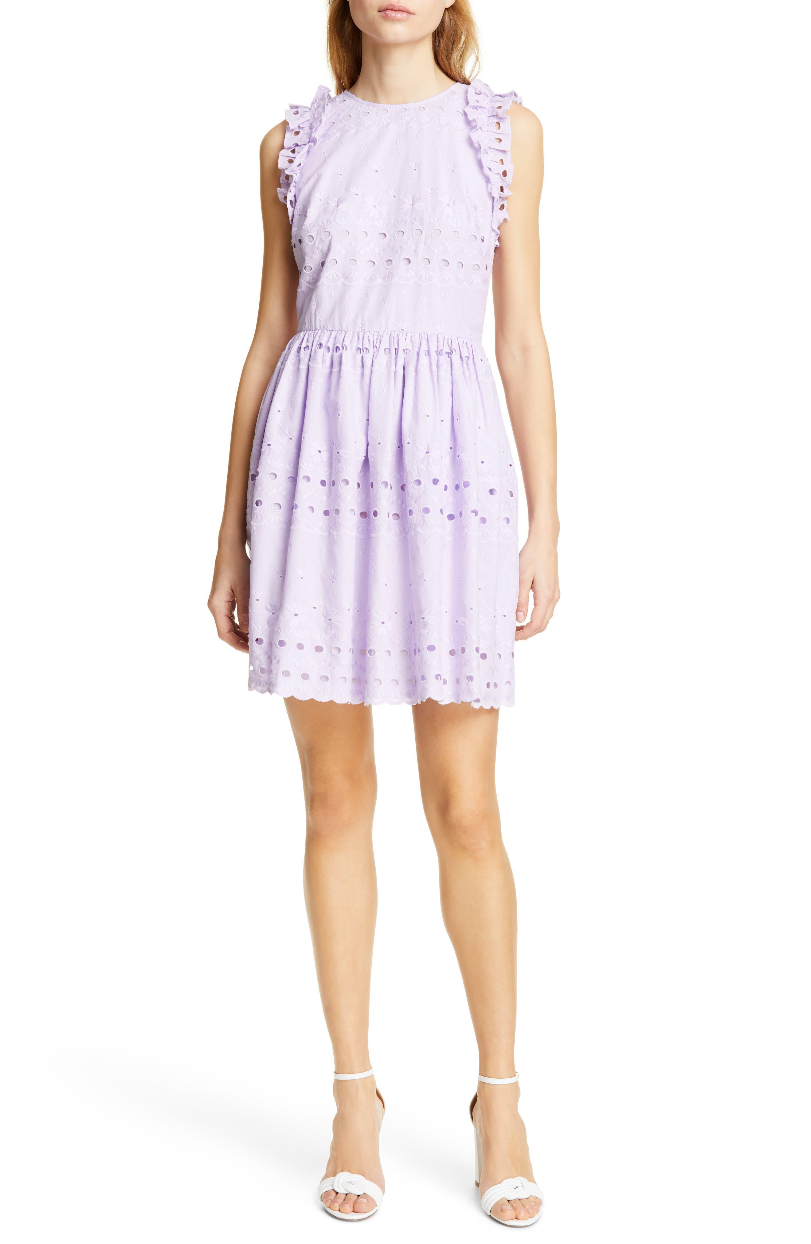 Kate Spade New York Eyelet Fit & Flare Dress, Purple