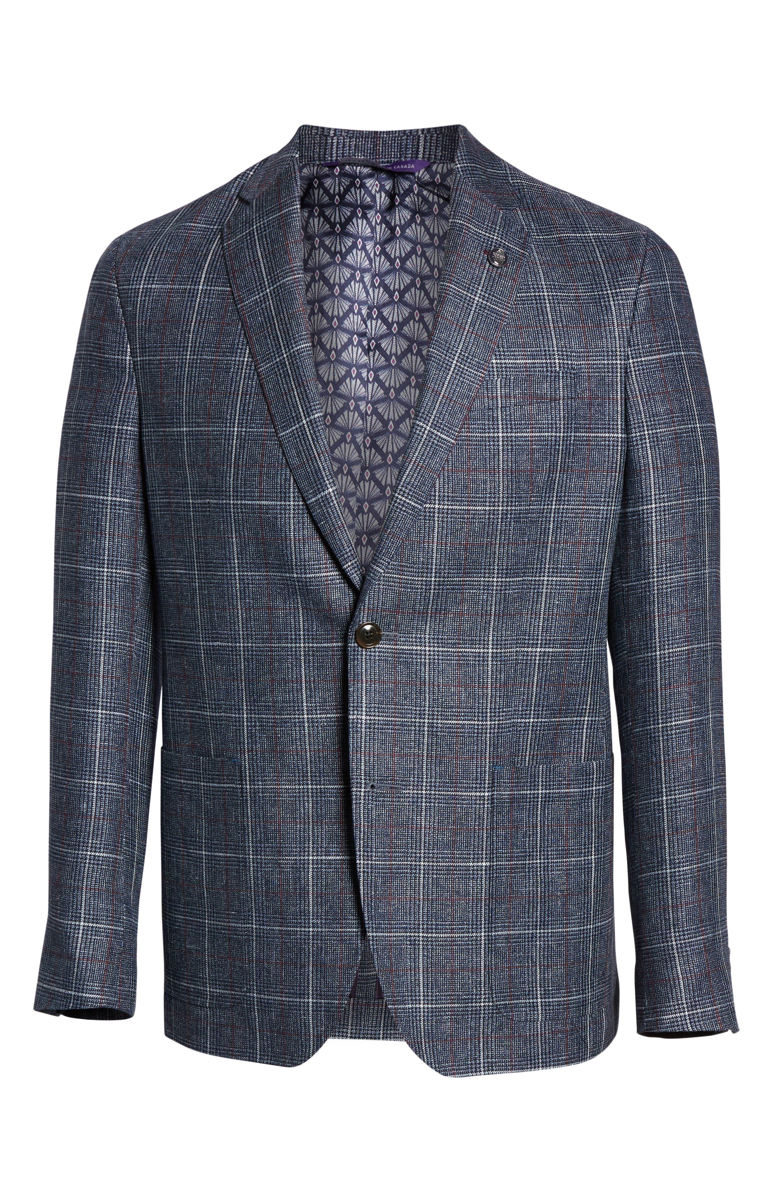 TED BAKER LONDON, Kyle Trim Fit Plaid Linen Blend Sport Coat, Alternate thumbnail 5, color, BLUE