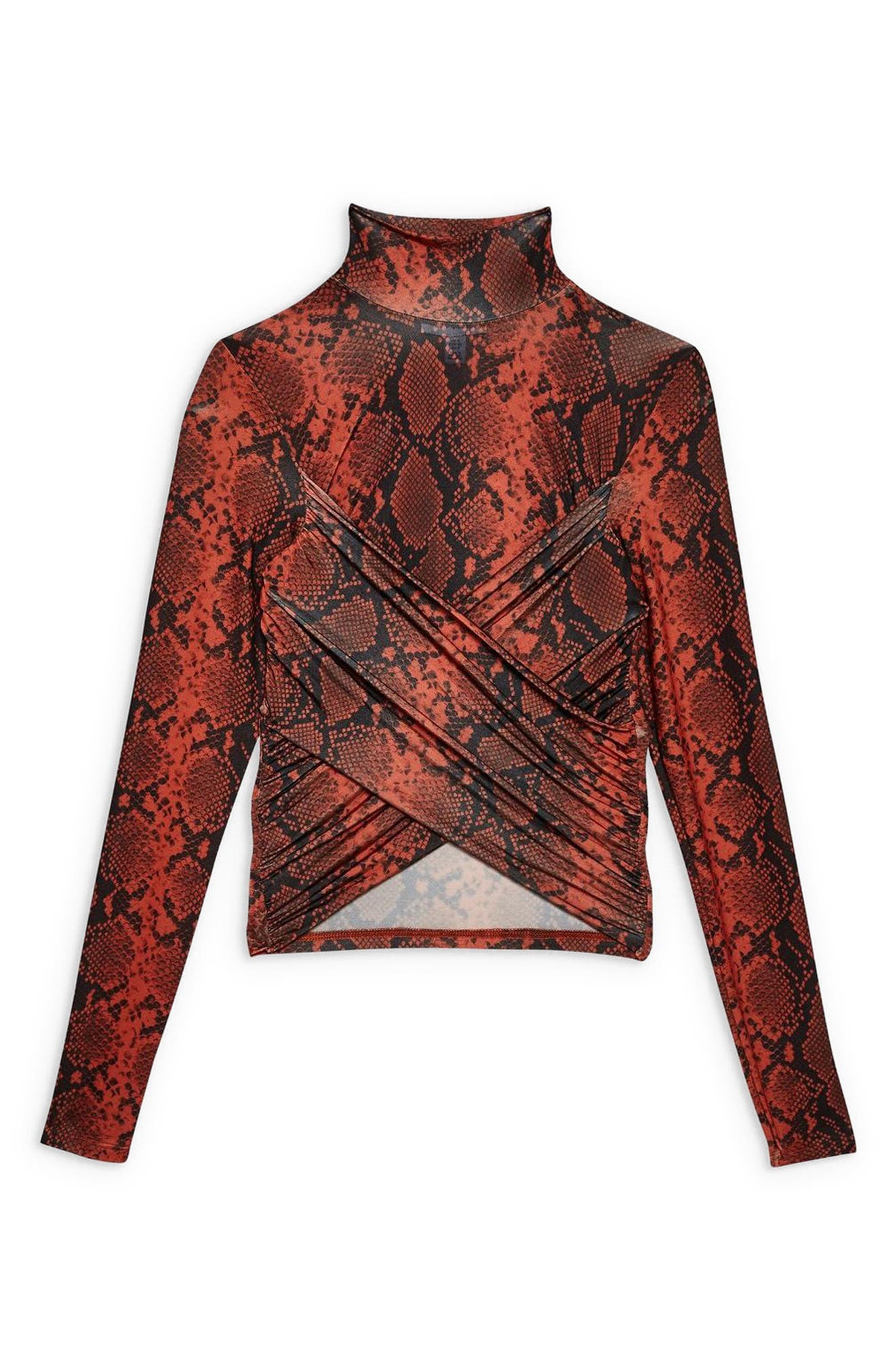 TOPSHOP, Snake Wrap High Neck Top, Alternate thumbnail 4, color, RED MULTI