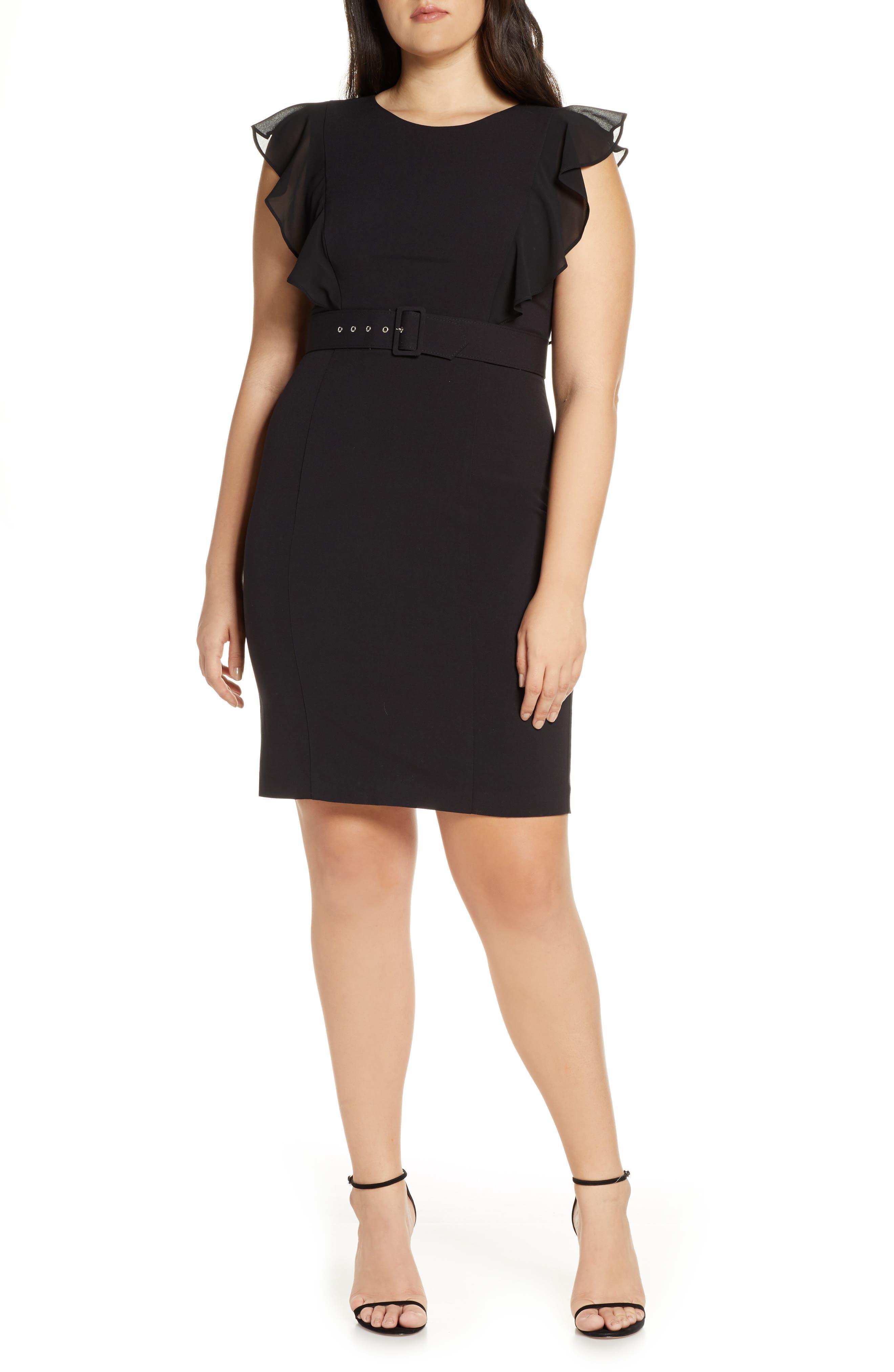 HARPER ROSE, Belted Sheath Dress, Alternate thumbnail 2, color, 001