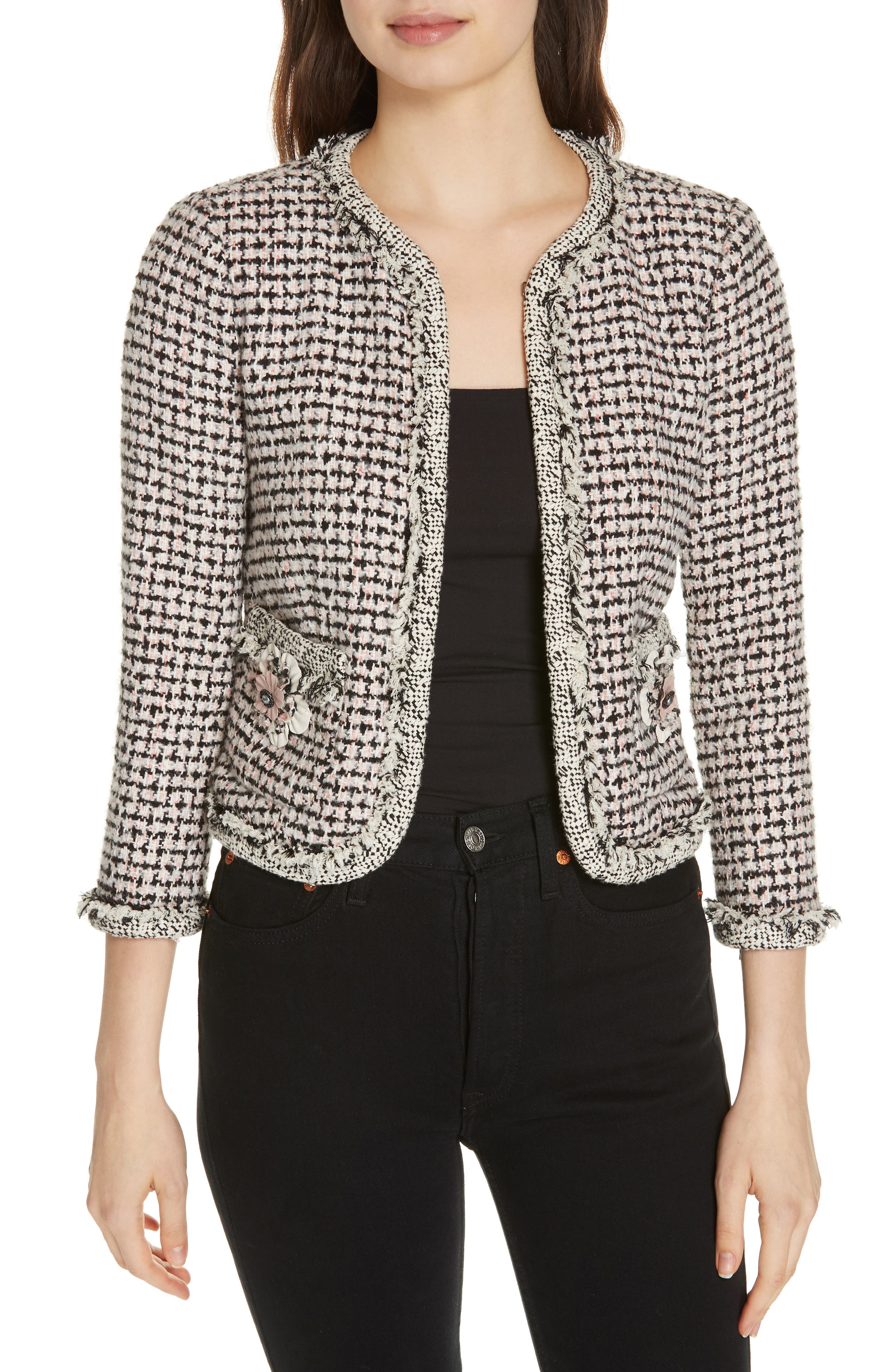 REBECCA TAYLOR Houndstooth Tweed Jacket, Main, color, BLACK/ PINK COMBO