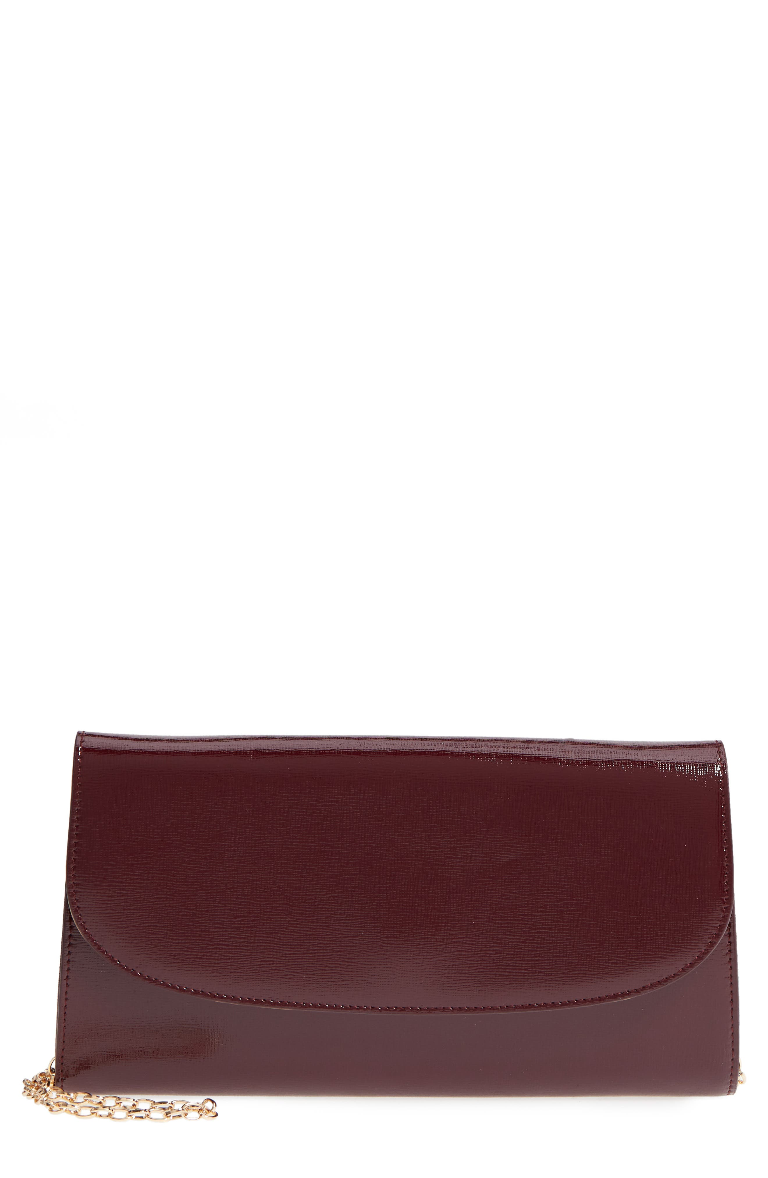 NORDSTROM, Leather Clutch, Main thumbnail 1, color, BURGUNDY ROYALE