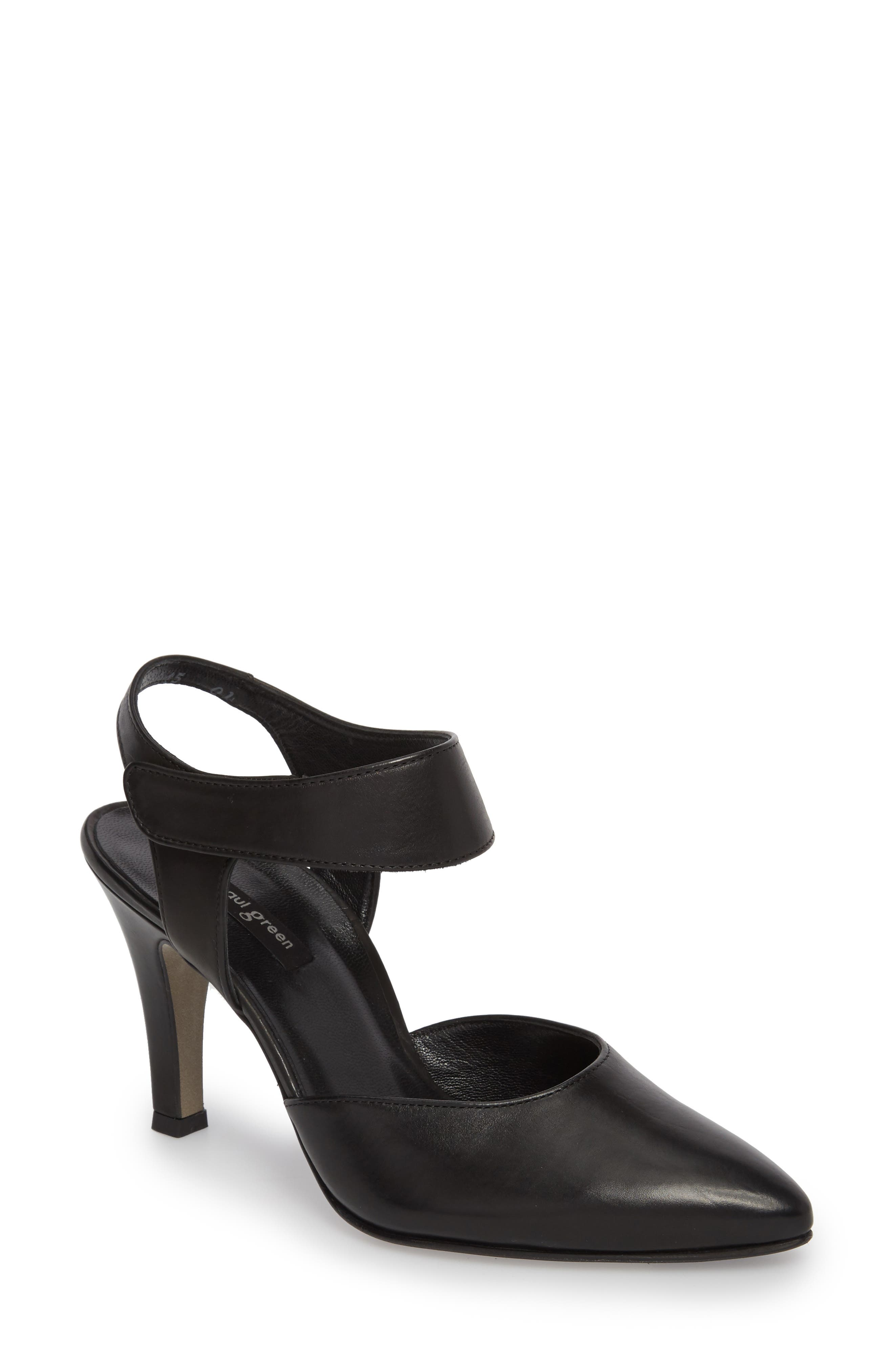 PAUL GREEN, Nicolette Pointy Toe Pump, Main thumbnail 1, color, BLACK LEATHER