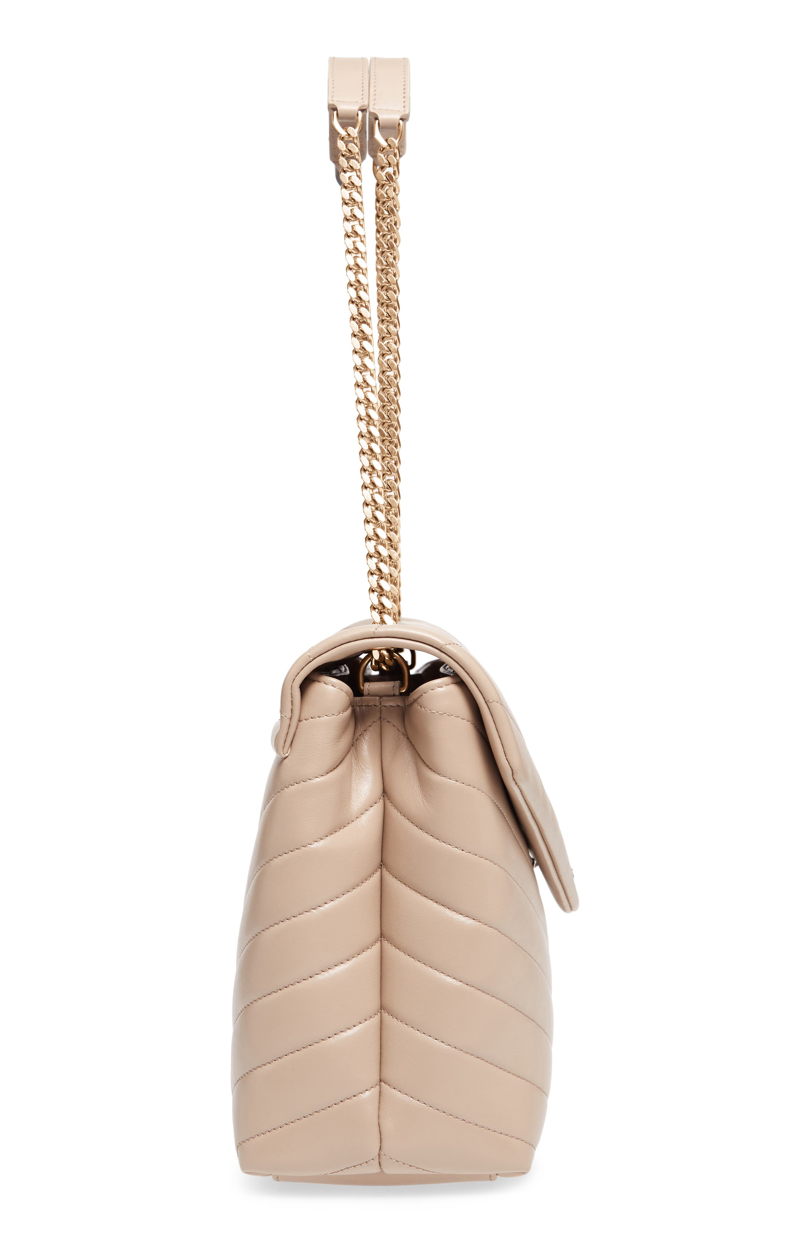 SAINT LAURENT, Medium Loulou Matelassé Calfskin Leather Shoulder Bag, Alternate thumbnail 5, color, LIGHT NATURAL