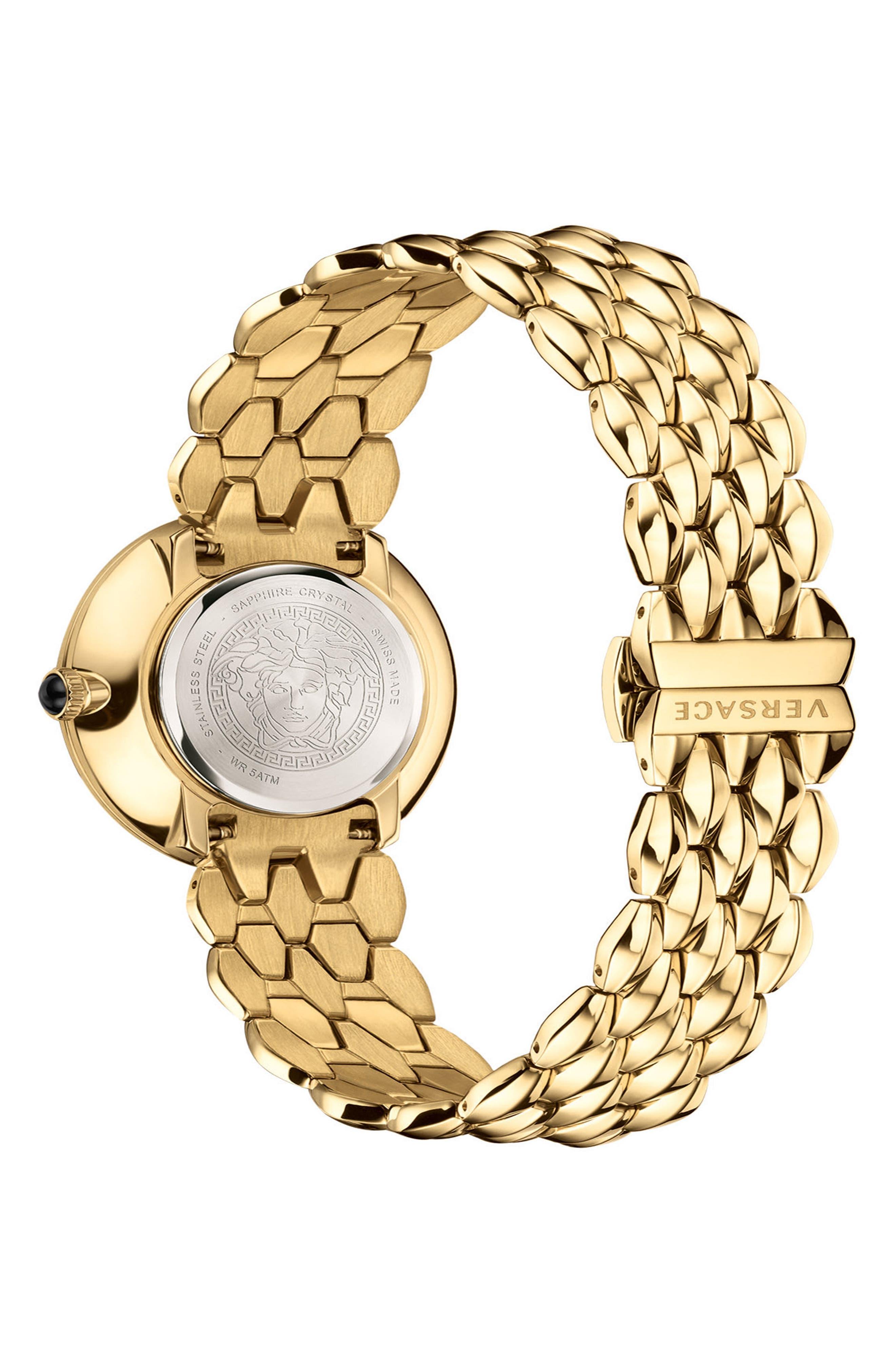 VERSACE, V-Flare Bracelet Watch, 28mm, Alternate thumbnail 2, color, GOLD/ SILVER/ GOLD