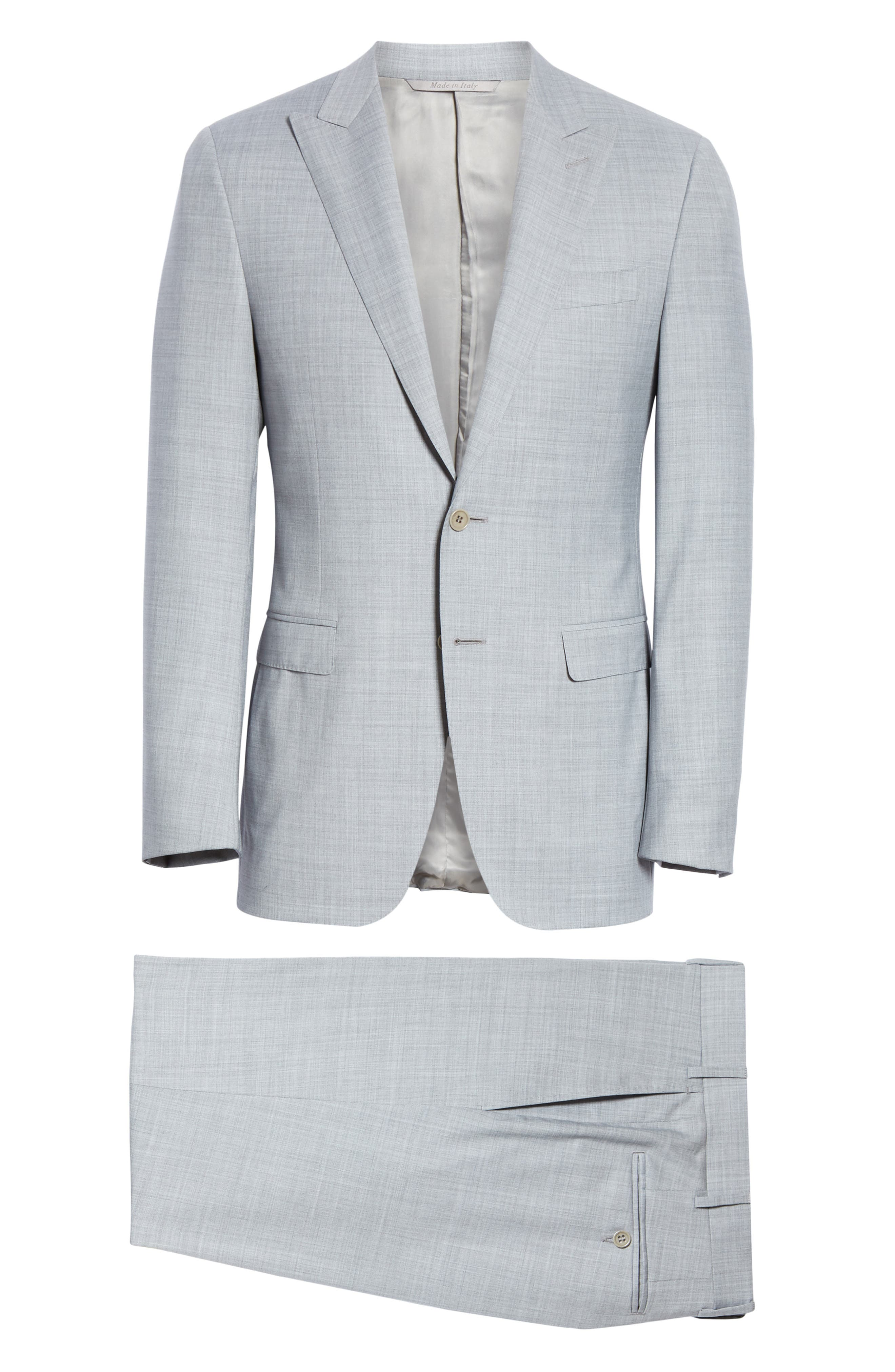 CANALI, Milano Classic Fit Solid Wool Suit, Alternate thumbnail 8, color, LIGHT GREY