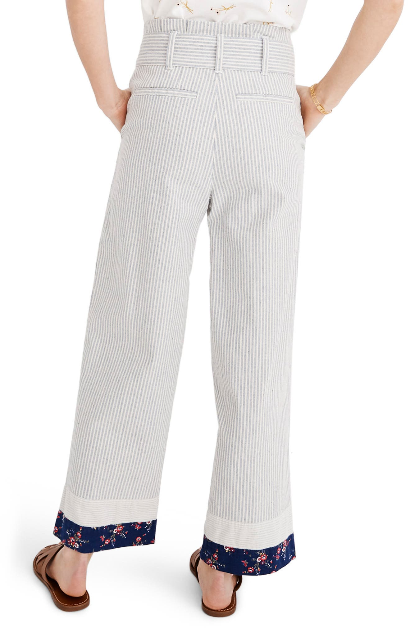 MADEWELL, x The New Denim Project<sup>®</sup> Patchwork Paperbag Pants, Alternate thumbnail 2, color, BLUE RAILROAD STRIPE