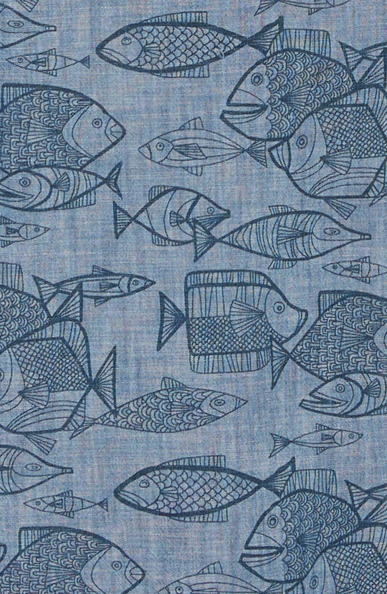 REYN SPOONER, Kauhulu Tailored Fit Sport Shirt, Alternate thumbnail 6, color, CHAMBRAY BLUE