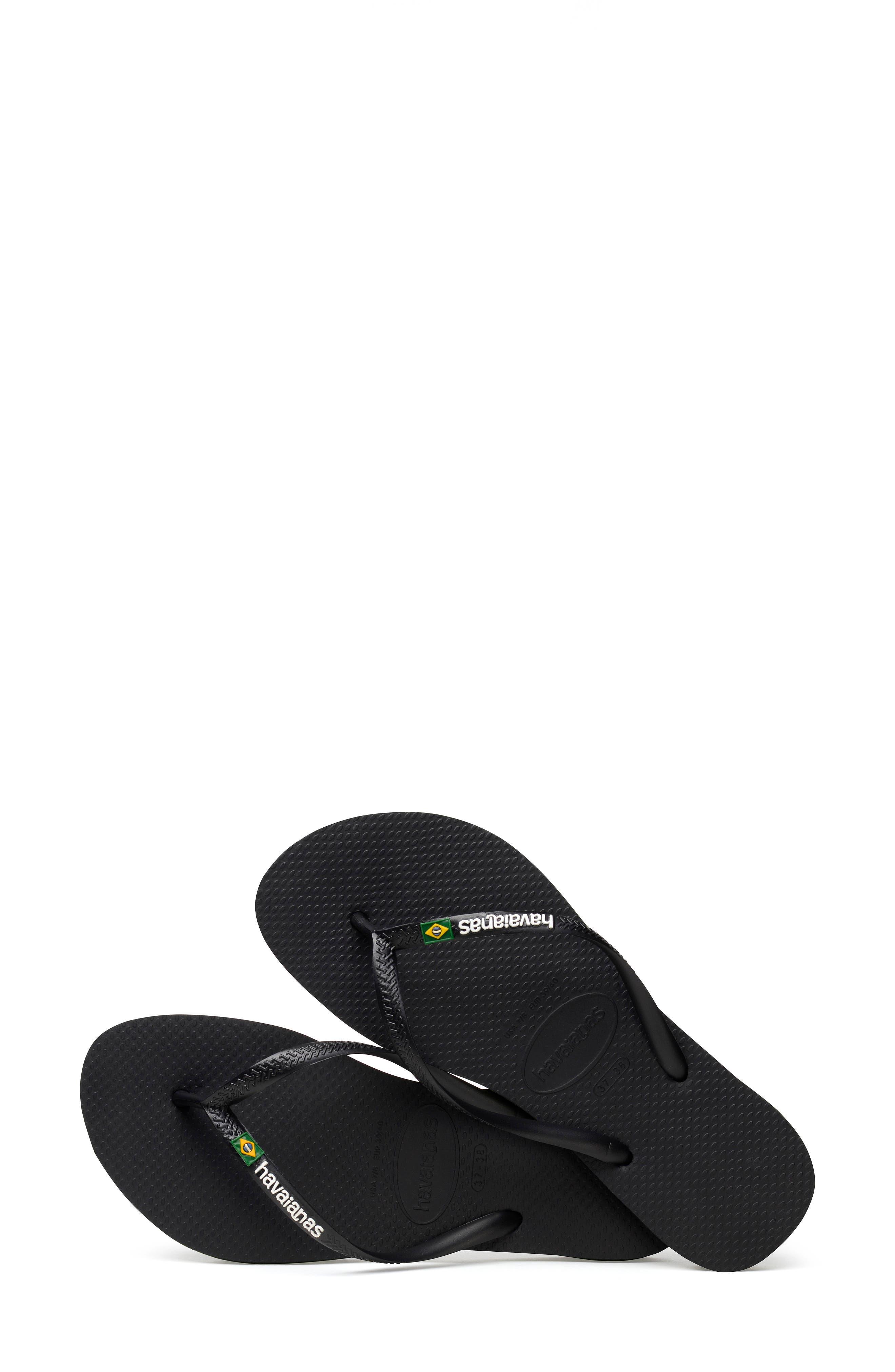 HAVAIANAS, Slim Brazil Flip Flop, Alternate thumbnail 7, color, BLACK
