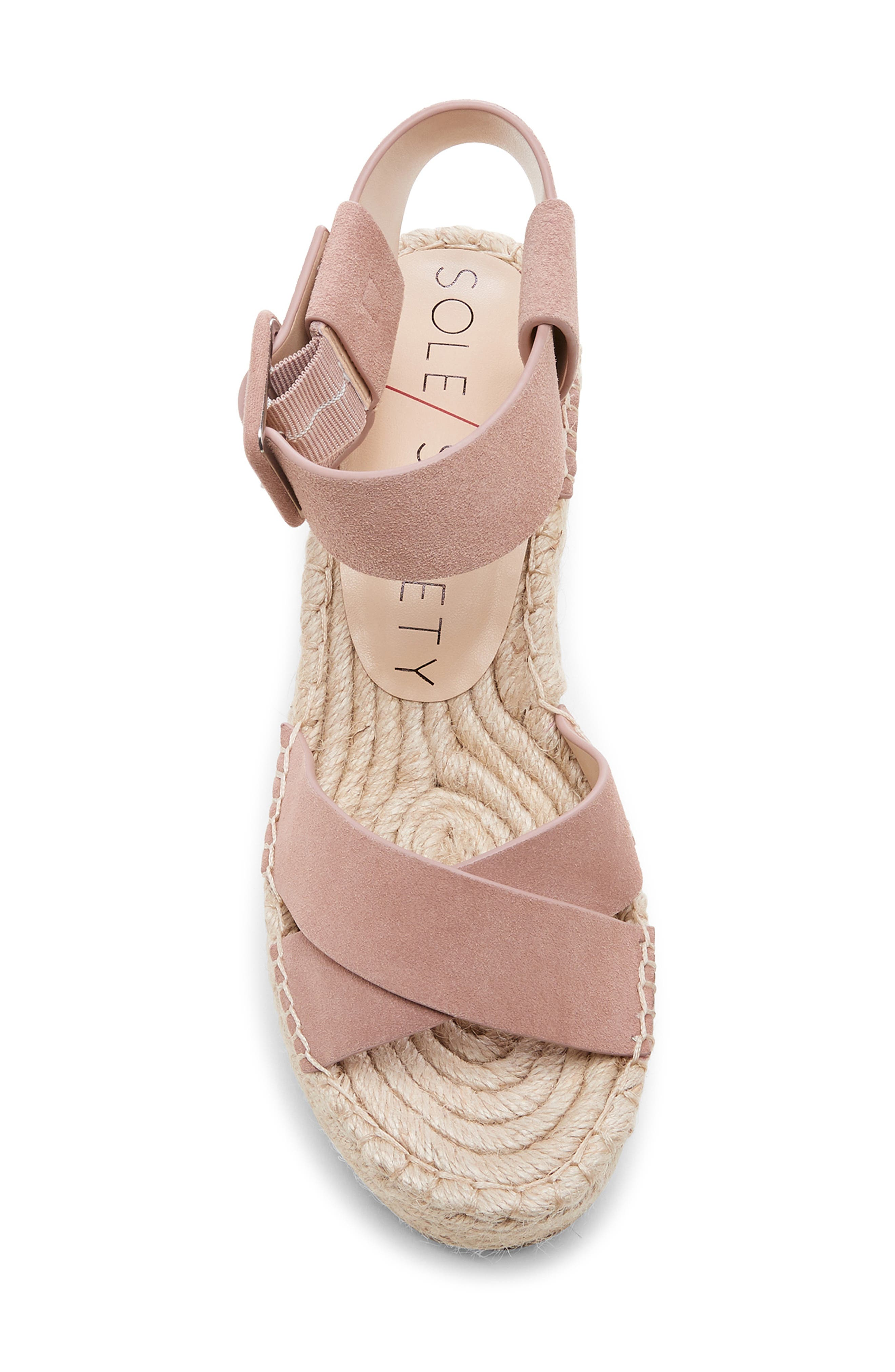 SOLE SOCIETY, Audrina Platform Espadrille Sandal, Alternate thumbnail 5, color, DUSTY ROSE SUEDE
