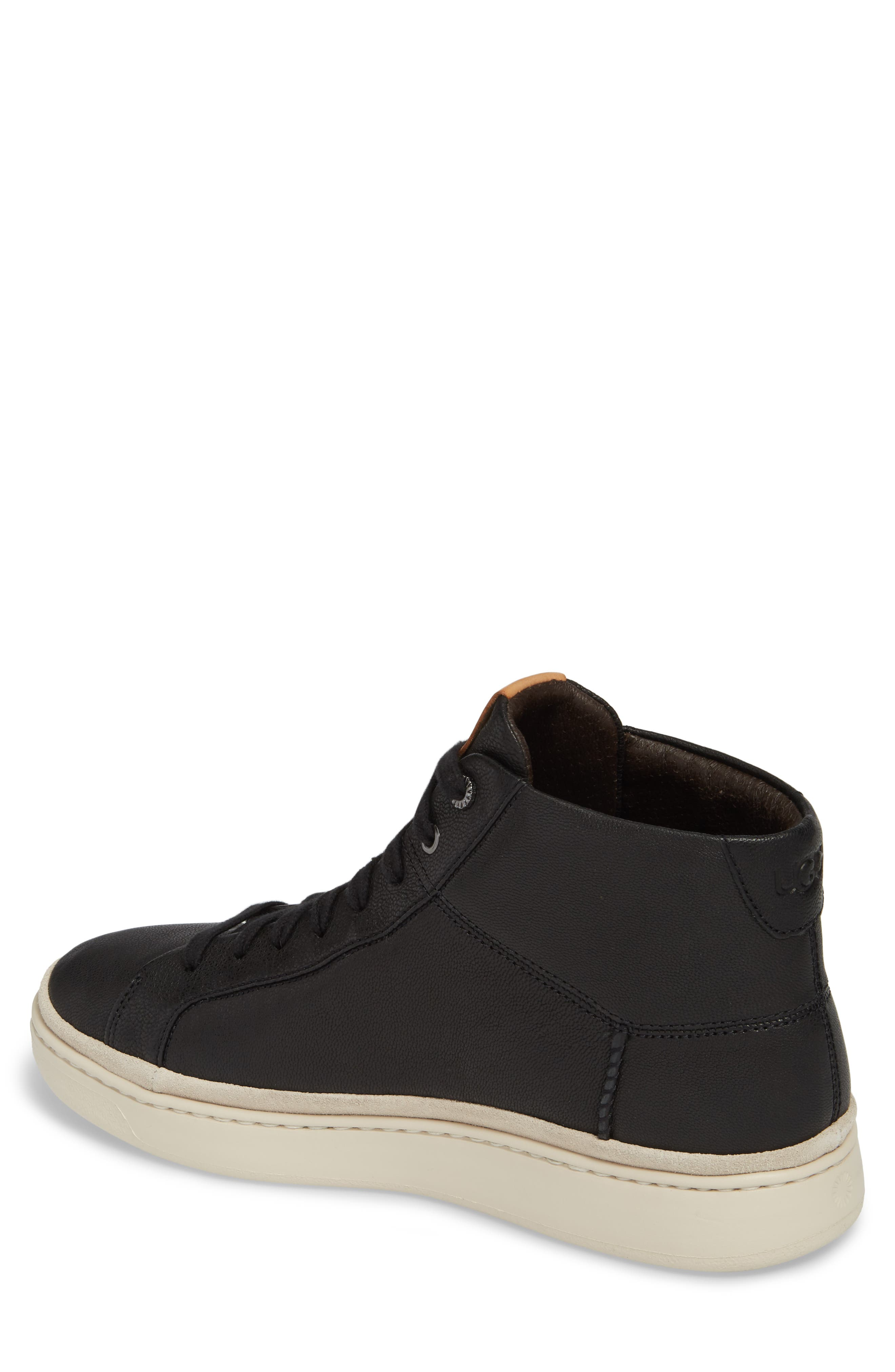 UGG<SUP>®</SUP>, Cali High Top Sneaker, Alternate thumbnail 2, color, BLACK LEATHER