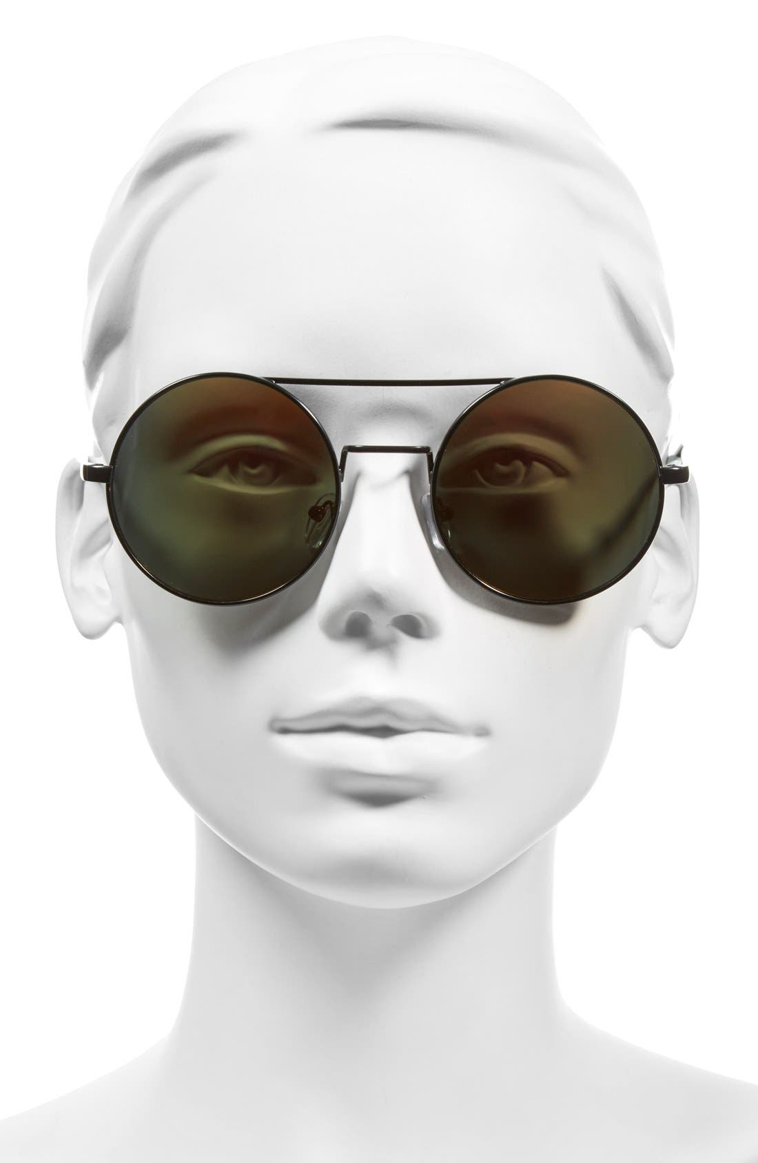 A.J. MORGAN, 'Eclipse' 54mm Round Mirror Lens Sunglasses, Alternate thumbnail 2, color, 001