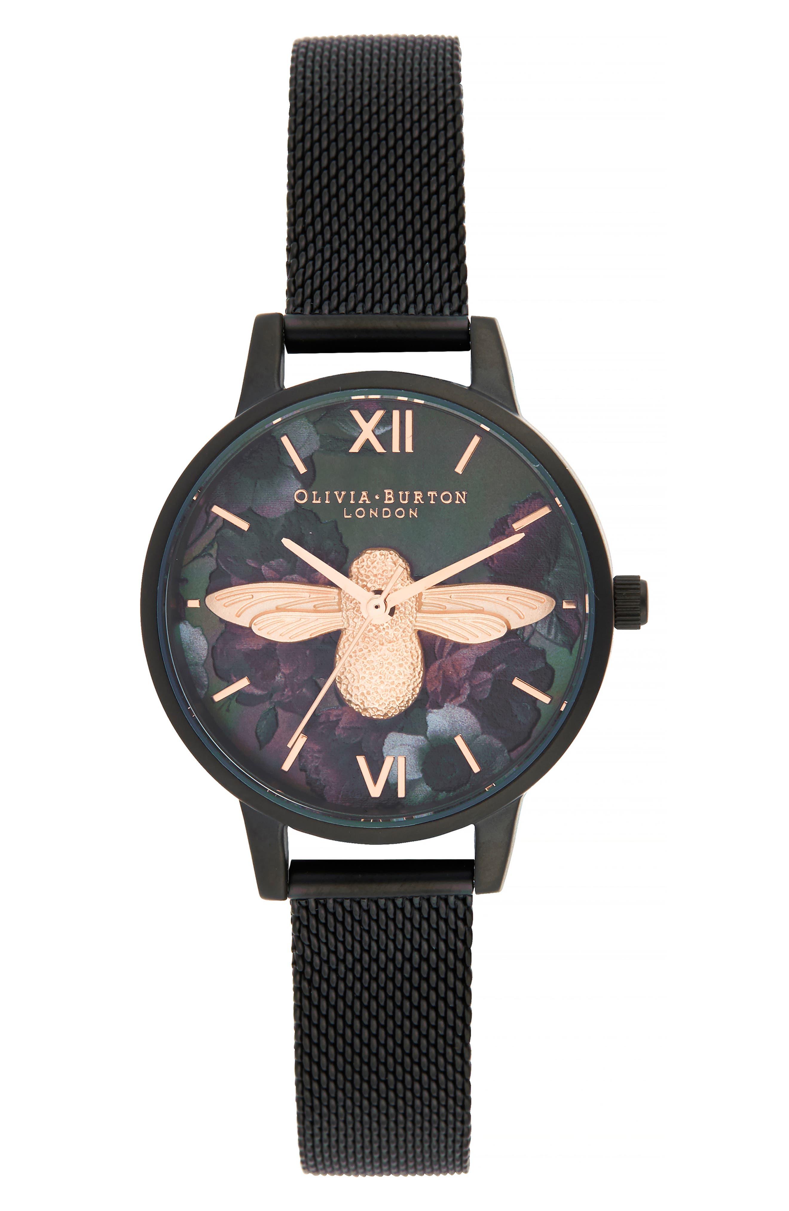 OLIVIA BURTON After Dark Mesh Strap Watch, 30mm, Main, color, BLACK/ MOP FLORAL BEE/ BLACK