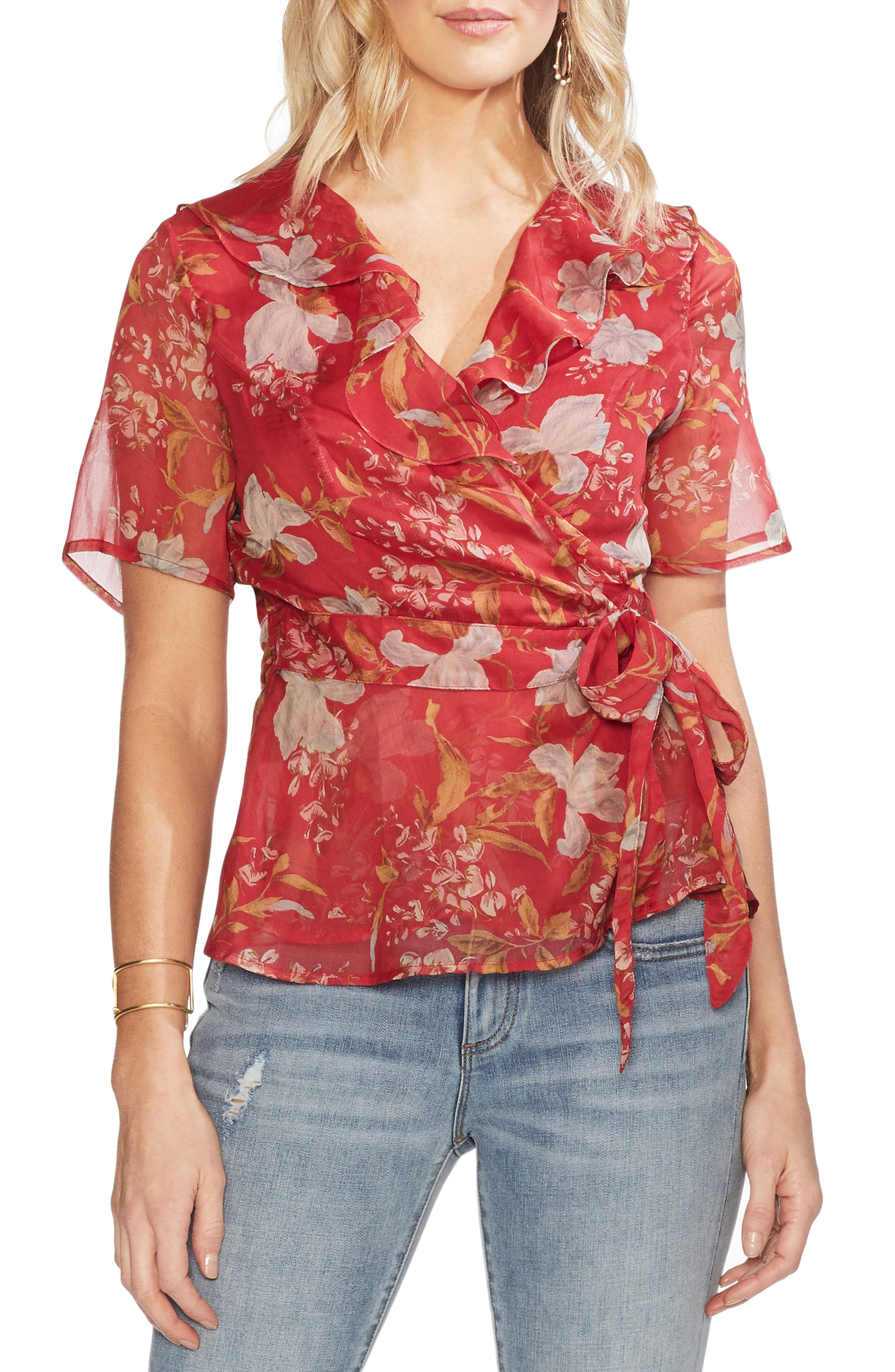 VINCE CAMUTO, Wildflower Wrap Front Tie Blouse, Main thumbnail 1, color, CORAL SUNSET