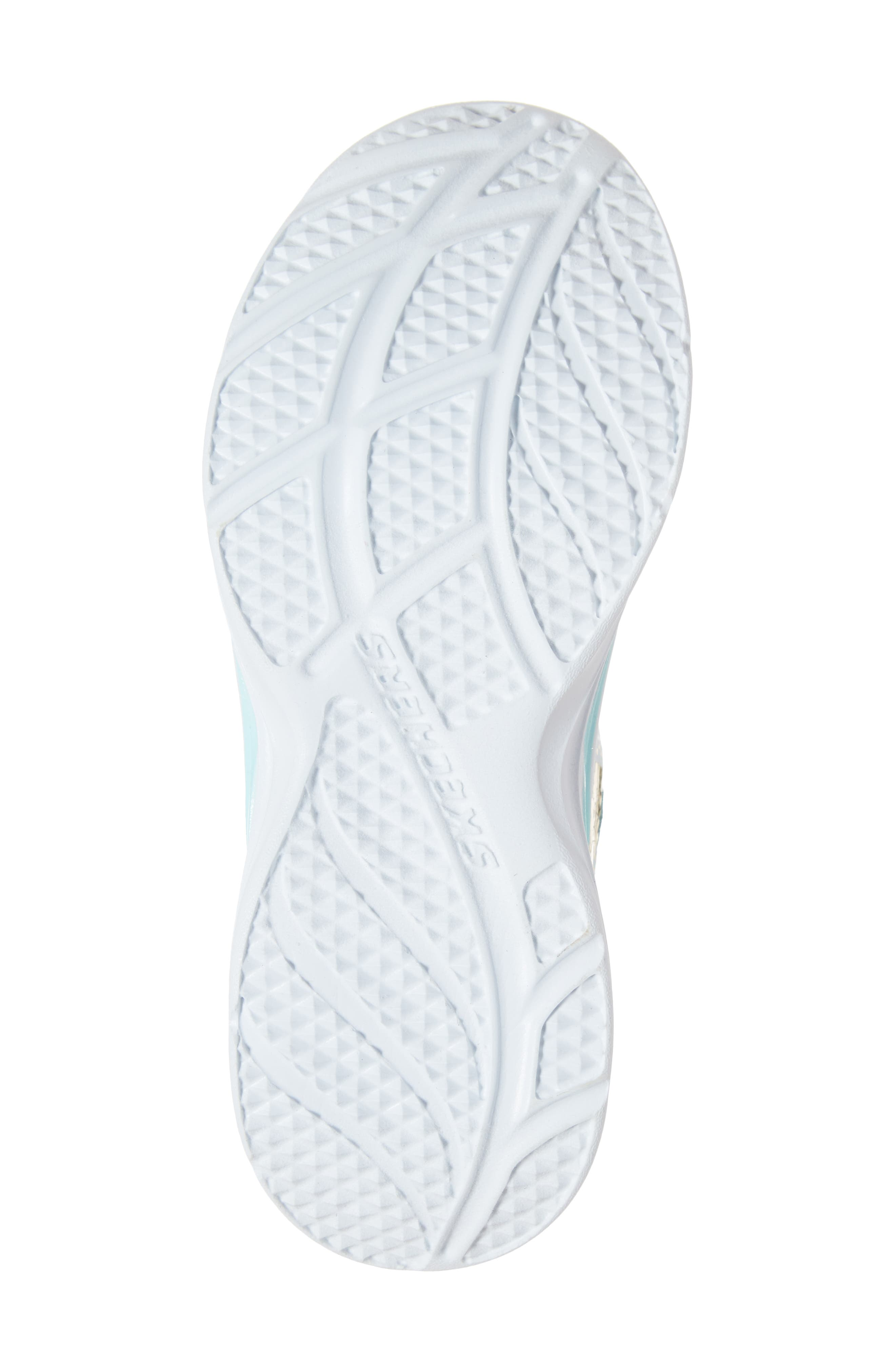 SKECHERS, Double Dreams Shimmer Sneaker, Alternate thumbnail 6, color, AQUA/ PINK TEXTILE