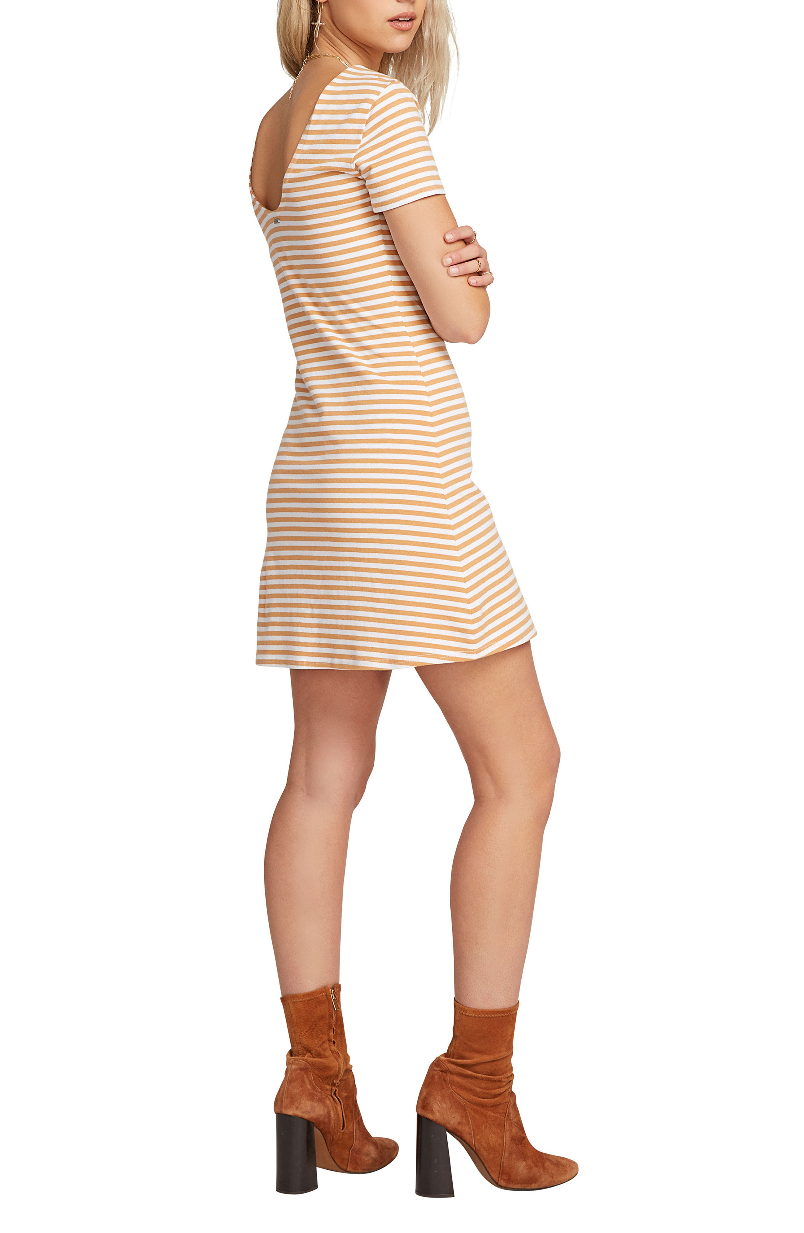 VOLCOM, Looking Out Stripe T-Shirt Dress, Alternate thumbnail 4, color, 250