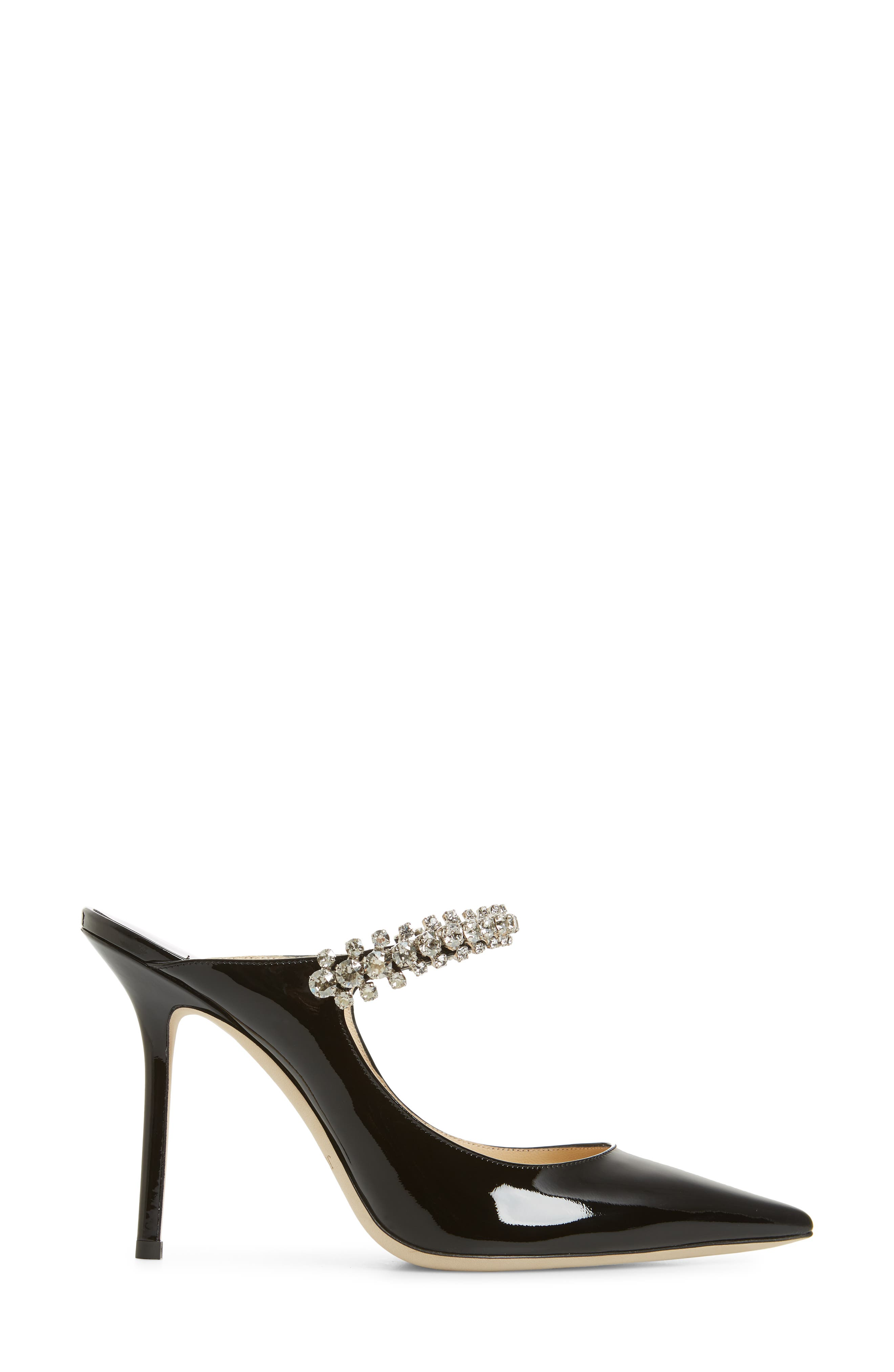 JIMMY CHOO, Embellished Mule, Alternate thumbnail 3, color, BLACK