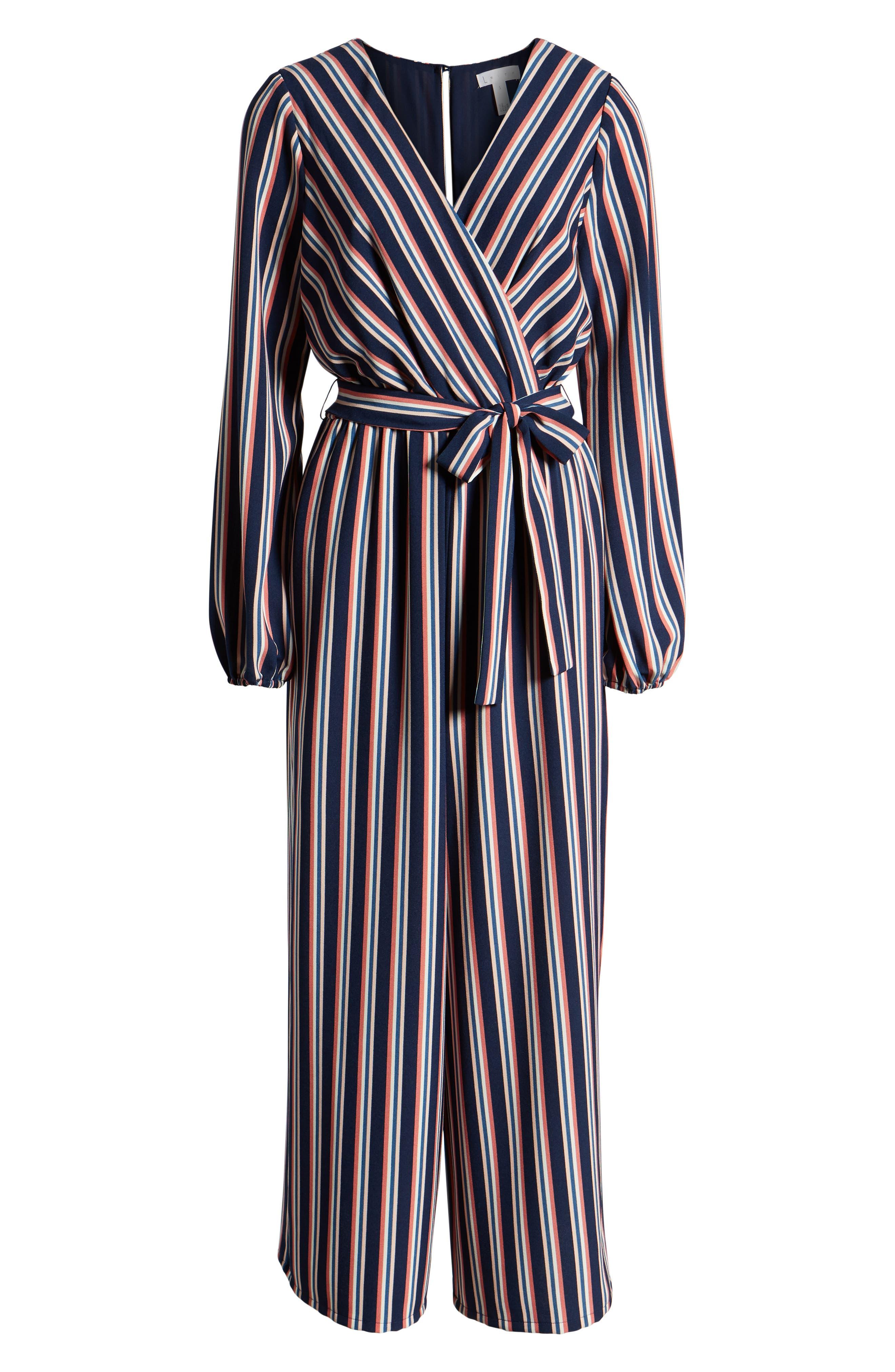 LEITH, Stripe Surplice Jumpsuit, Alternate thumbnail 7, color, NAVY PEACOAT FEM STRIPE
