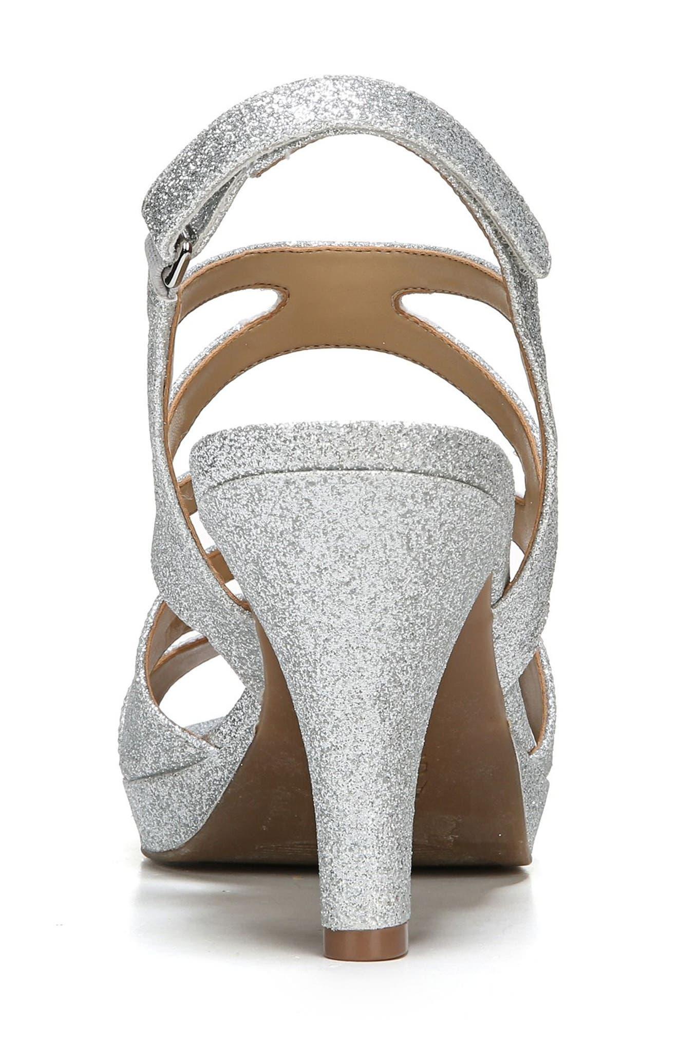 NATURALIZER, 'Pressley' Slingback Platform Sandal, Alternate thumbnail 7, color, SILVER GLITTER FAUX LEATHER