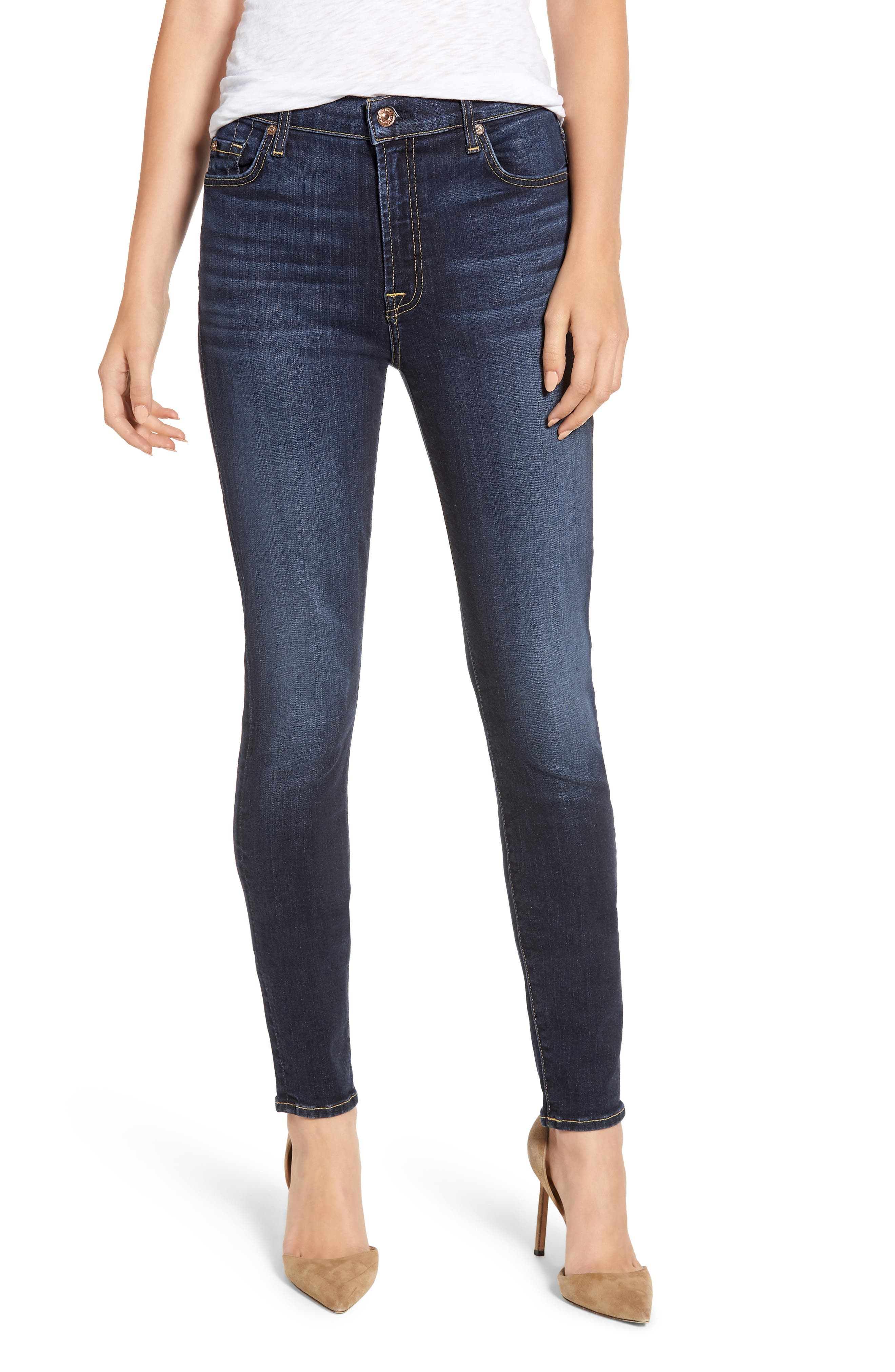 7 FOR ALL MANKIND<SUP>®</SUP>, The High Waist Skinny Jeans, Main thumbnail 1, color, AUTHENTIC FATE