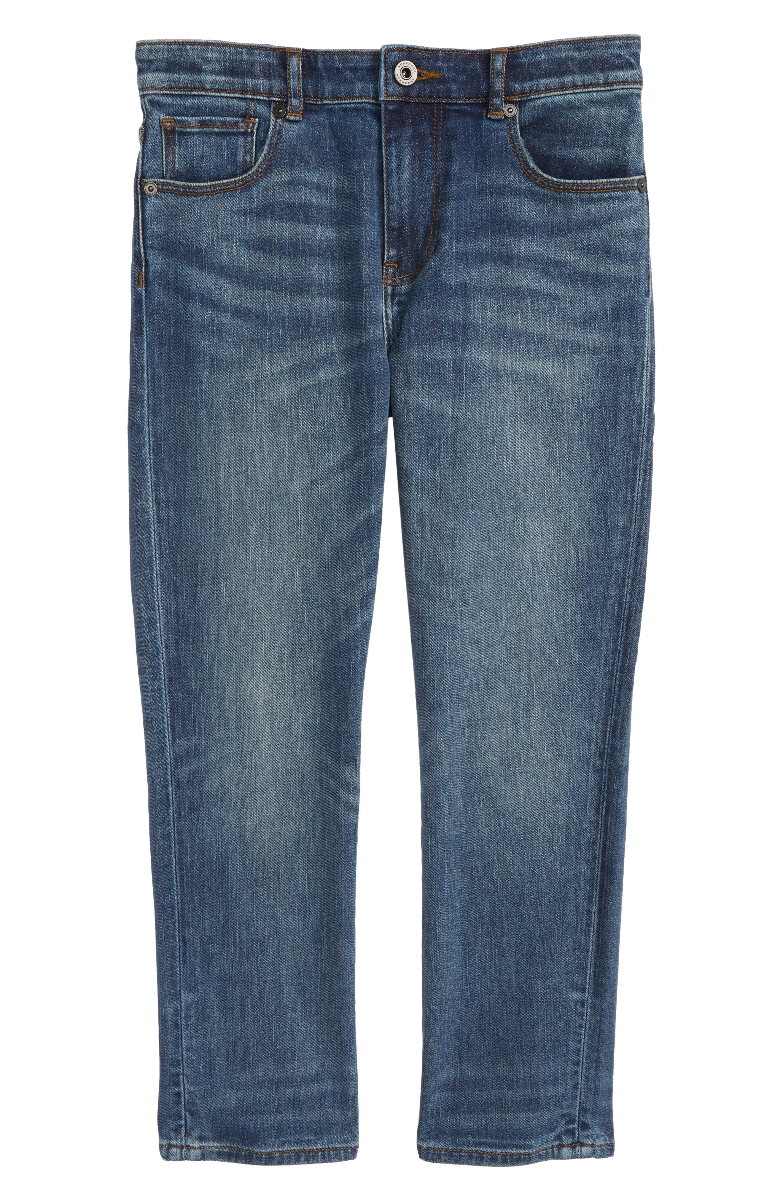 BURBERRY Relaxed Fit Jeans, Main, color, MEDIUM INDIGO