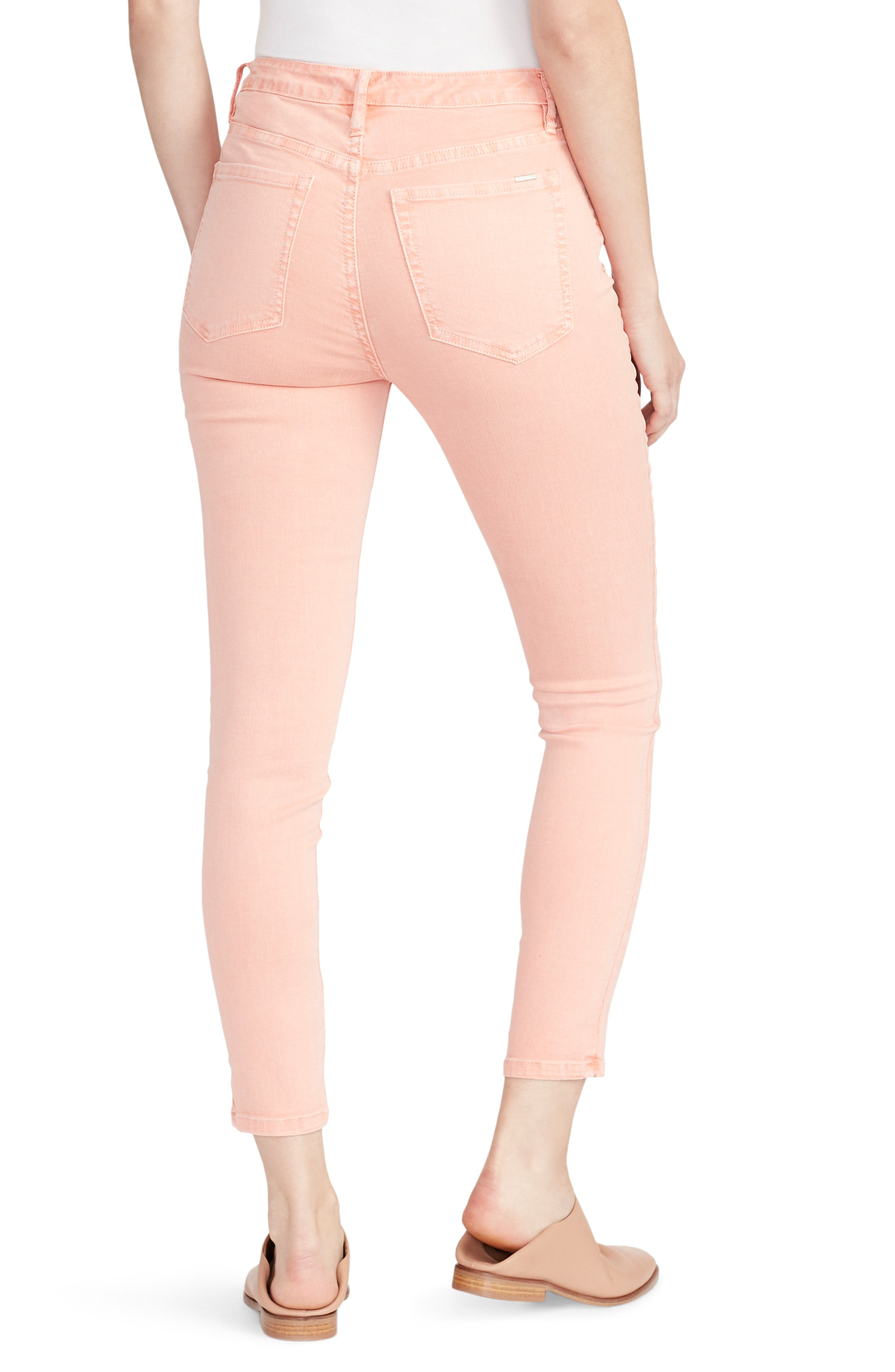 ELLA MOSS, High Waist Ankle Skinny Jeans, Alternate thumbnail 2, color, PEACH BUD
