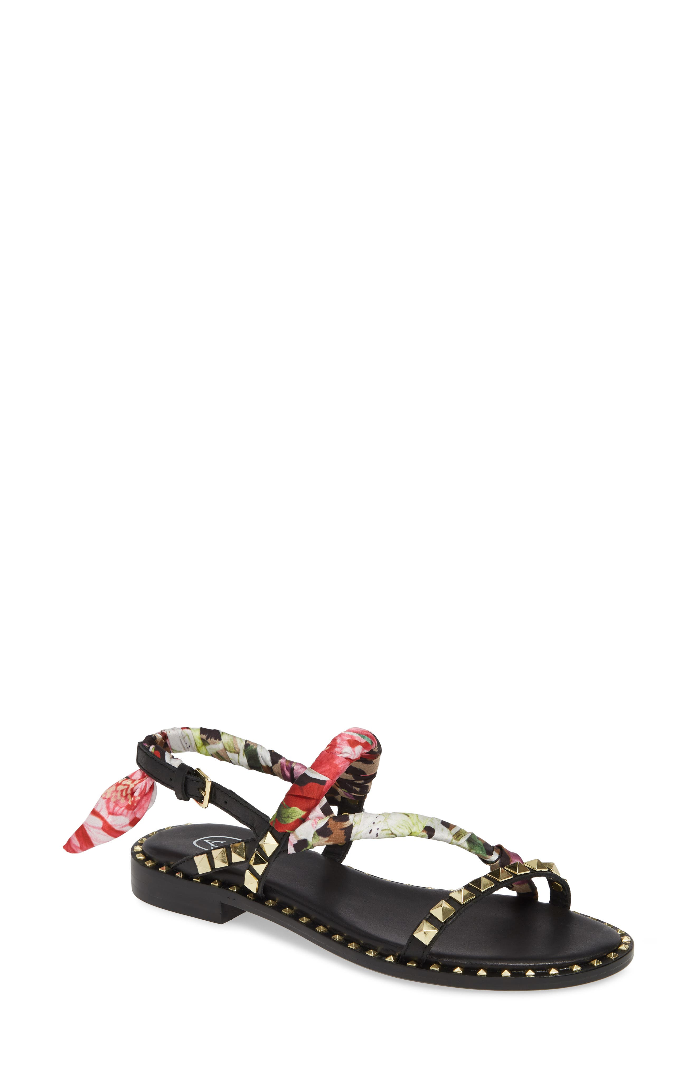 ASH Pattaya Sandal, Main, color, BLACK FLORAL/ CHEETAH PRINT