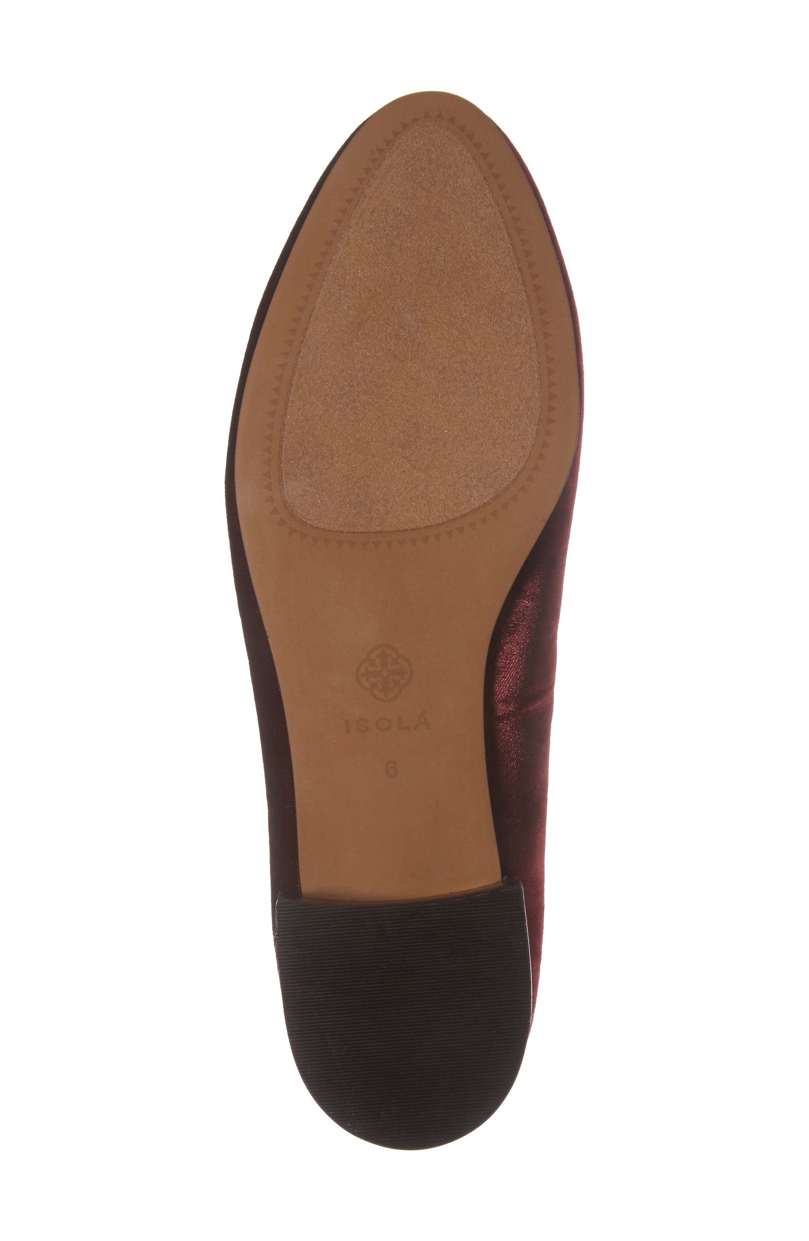 ISOLÁ, Casoria Smoking Slipper, Alternate thumbnail 6, color, BORDEAUX VELVET