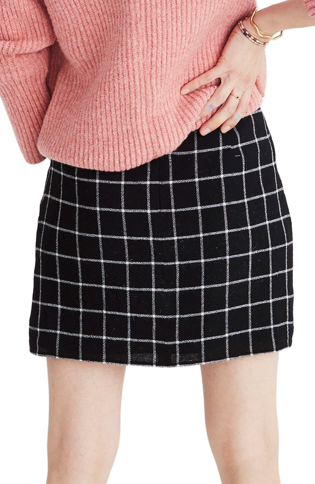 MADEWELL, Windowpane Ruffle Front Miniskirt, Alternate thumbnail 2, color, 009