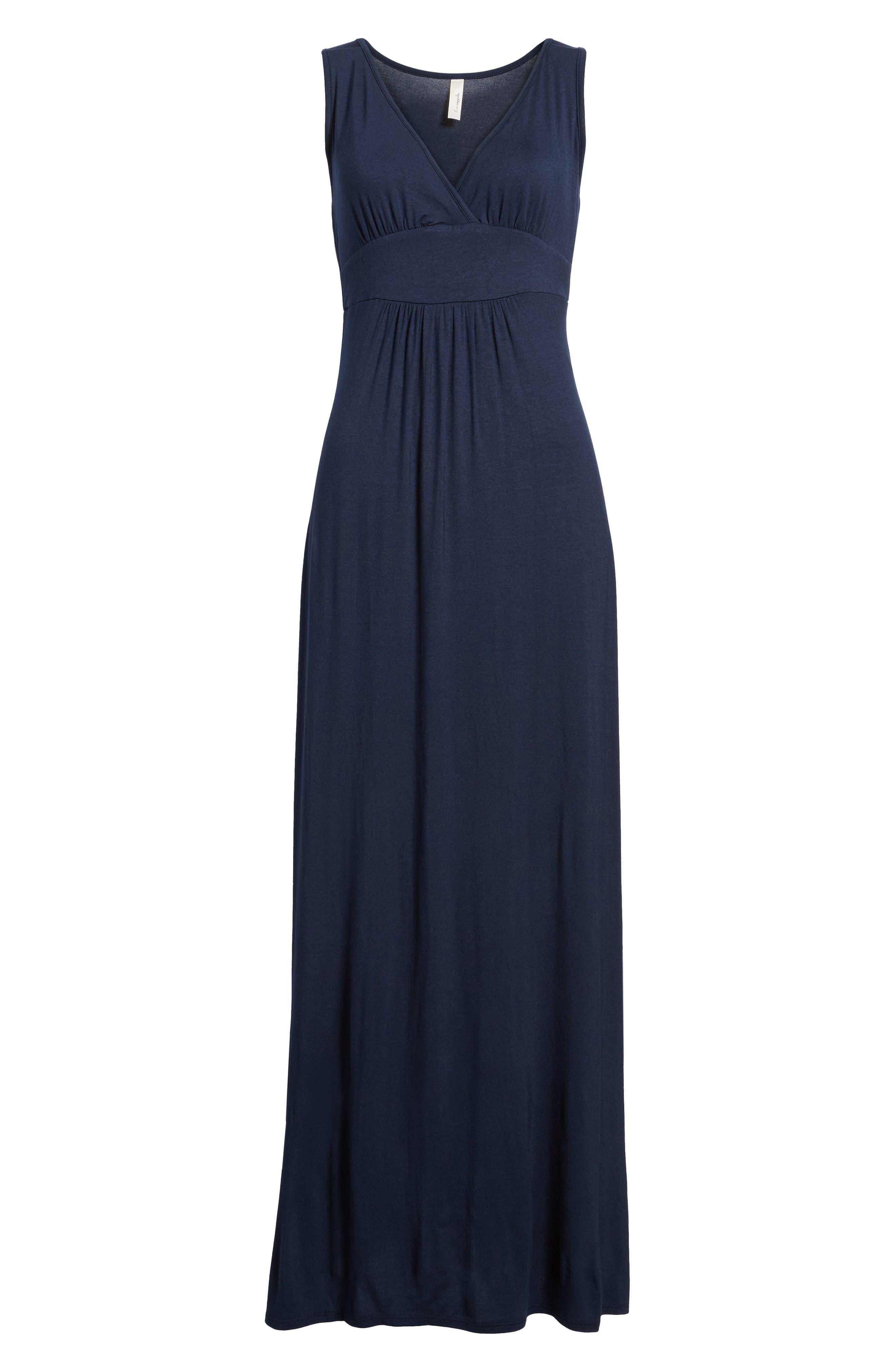 Petite Loveappella V-Neck Jersey Maxi Dress, Blue