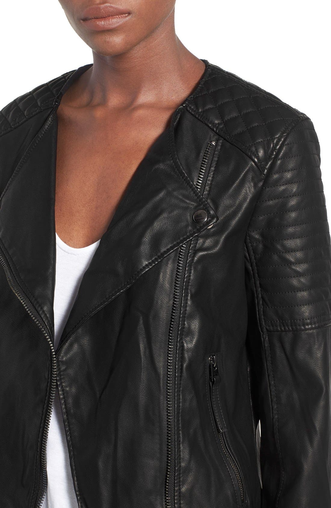 TOPSHOP, Faux Leather Biker Jacket, Alternate thumbnail 2, color, 001