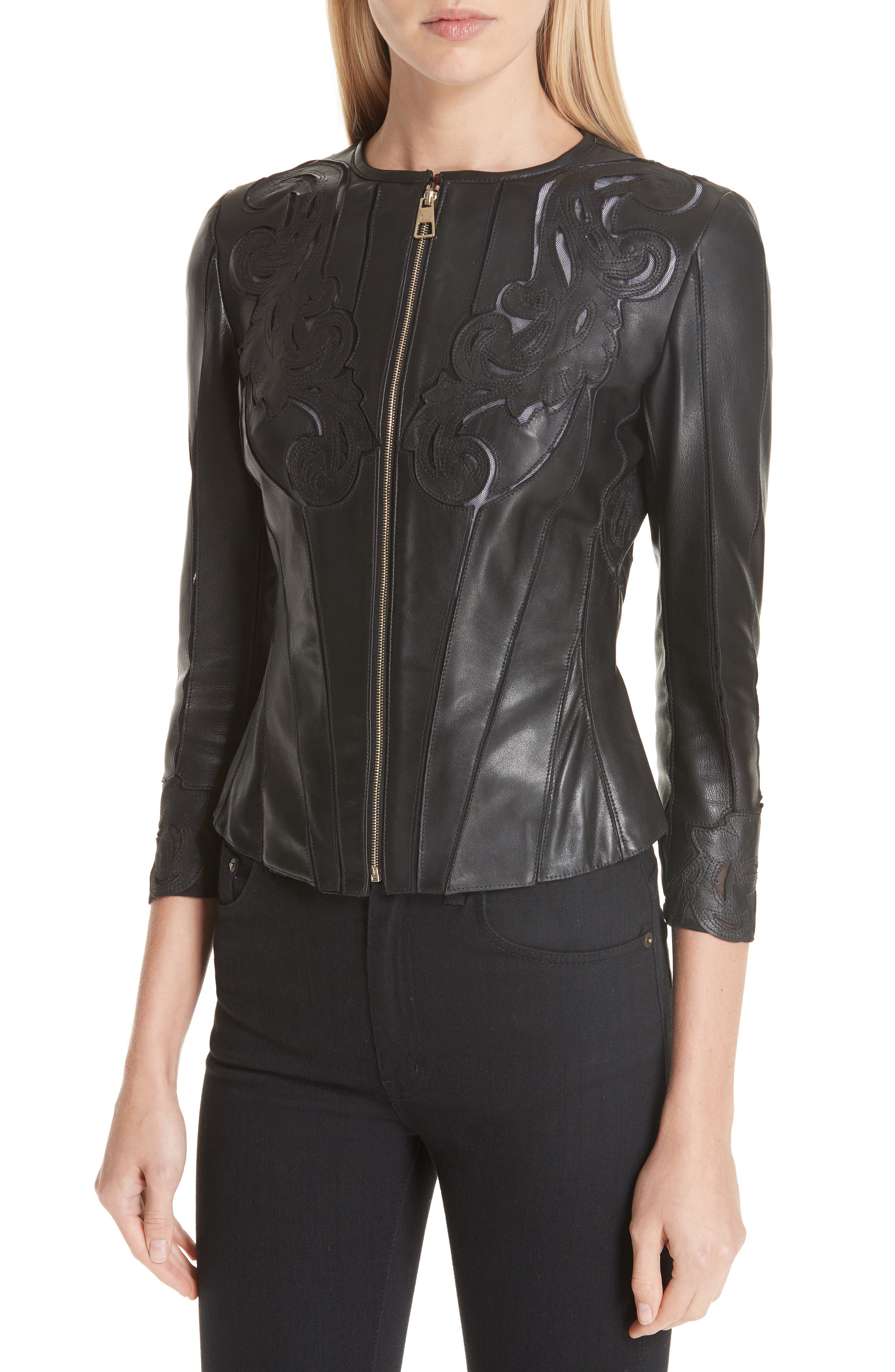 VERSACE COLLECTION, Fitted Leather Jacket, Alternate thumbnail 5, color, BLACK
