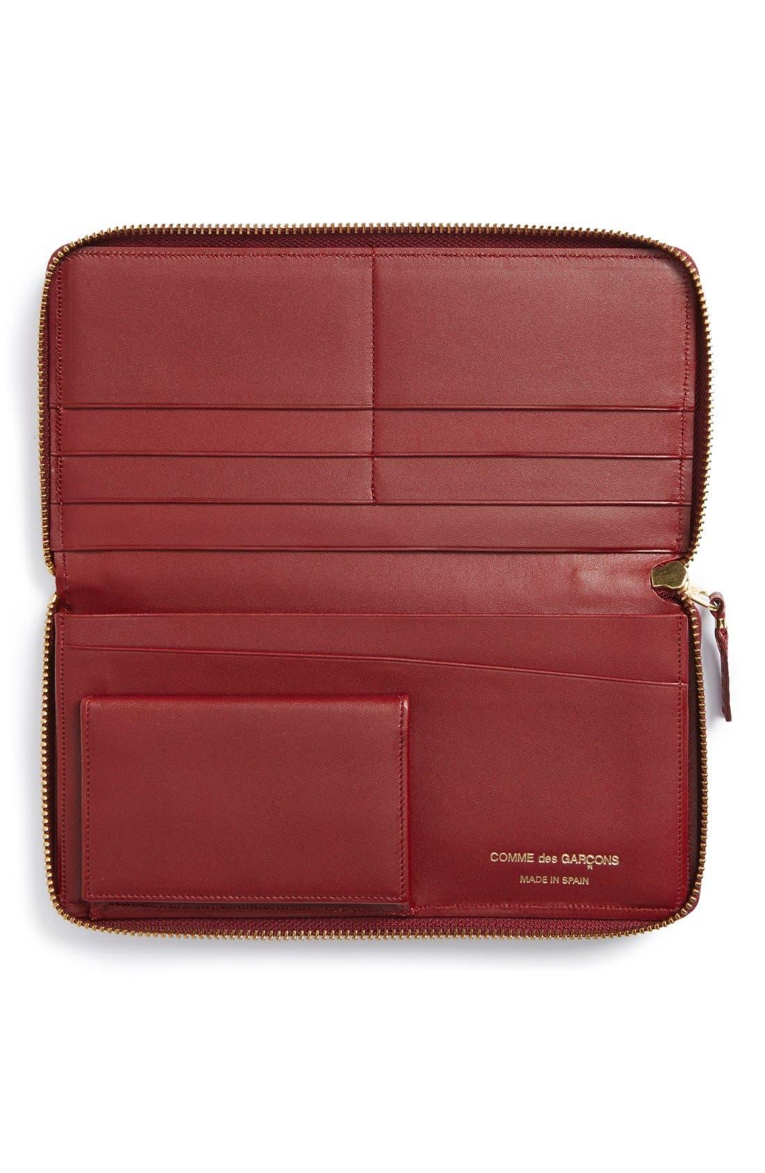 COMME DES GARÇONS, 'Luxury Group' Continental Long Wallet, Alternate thumbnail 2, color, BURGUNDY