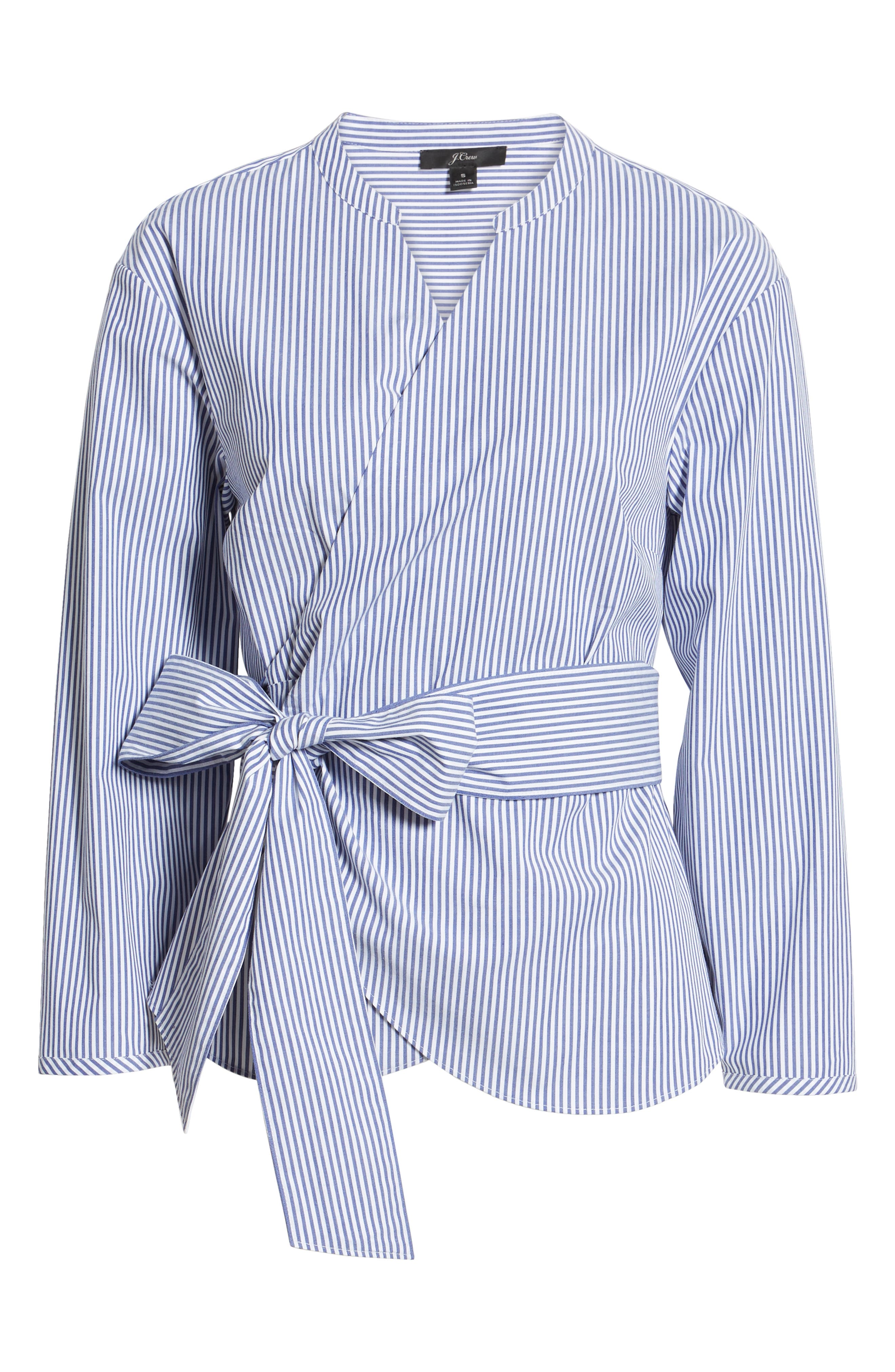 J.CREW, Stretch Cotton Stripe Wrap Top, Alternate thumbnail 6, color, BLUE