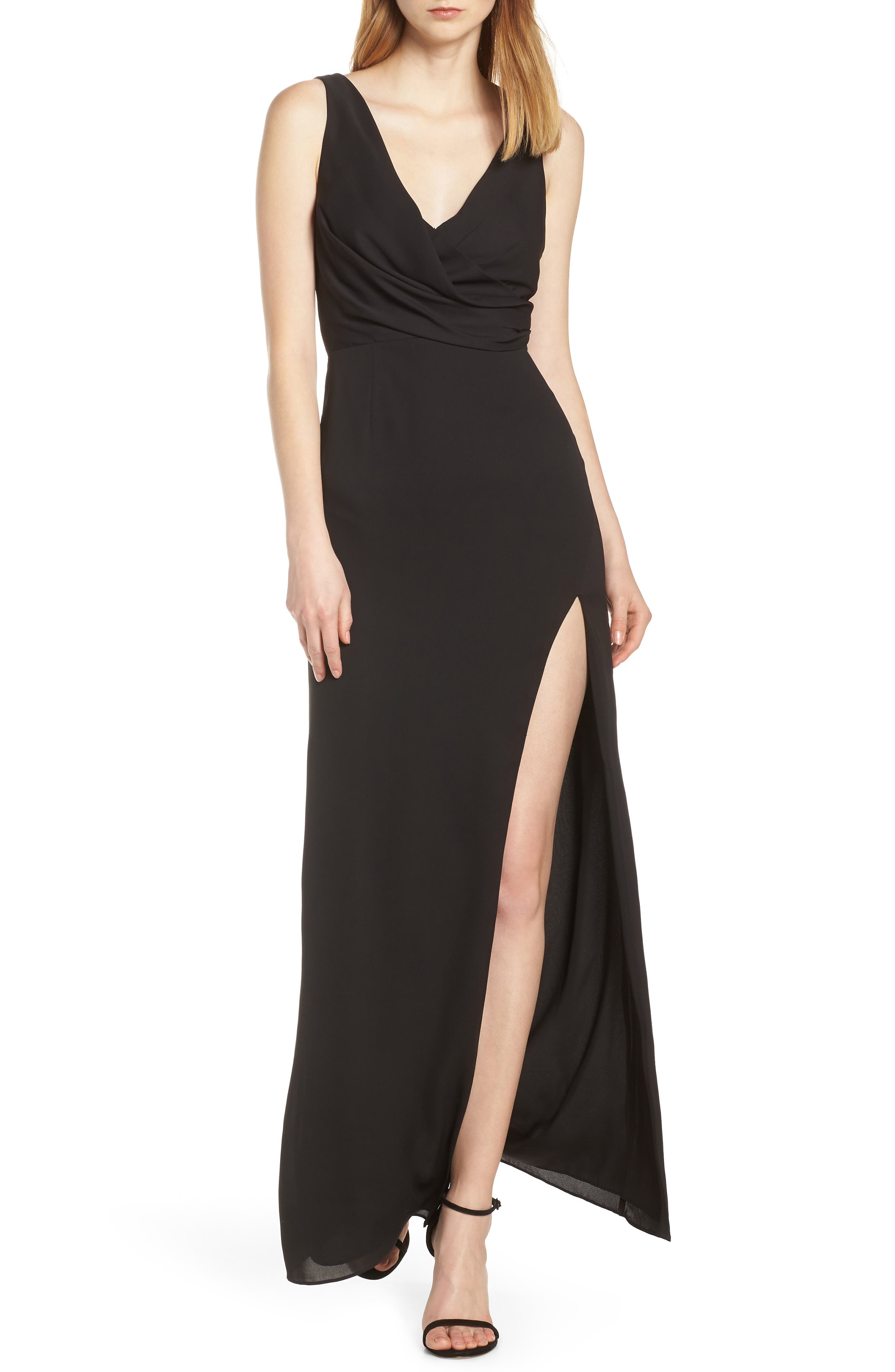 Fame And Partners Crossover Bodice Evening Gown, Black