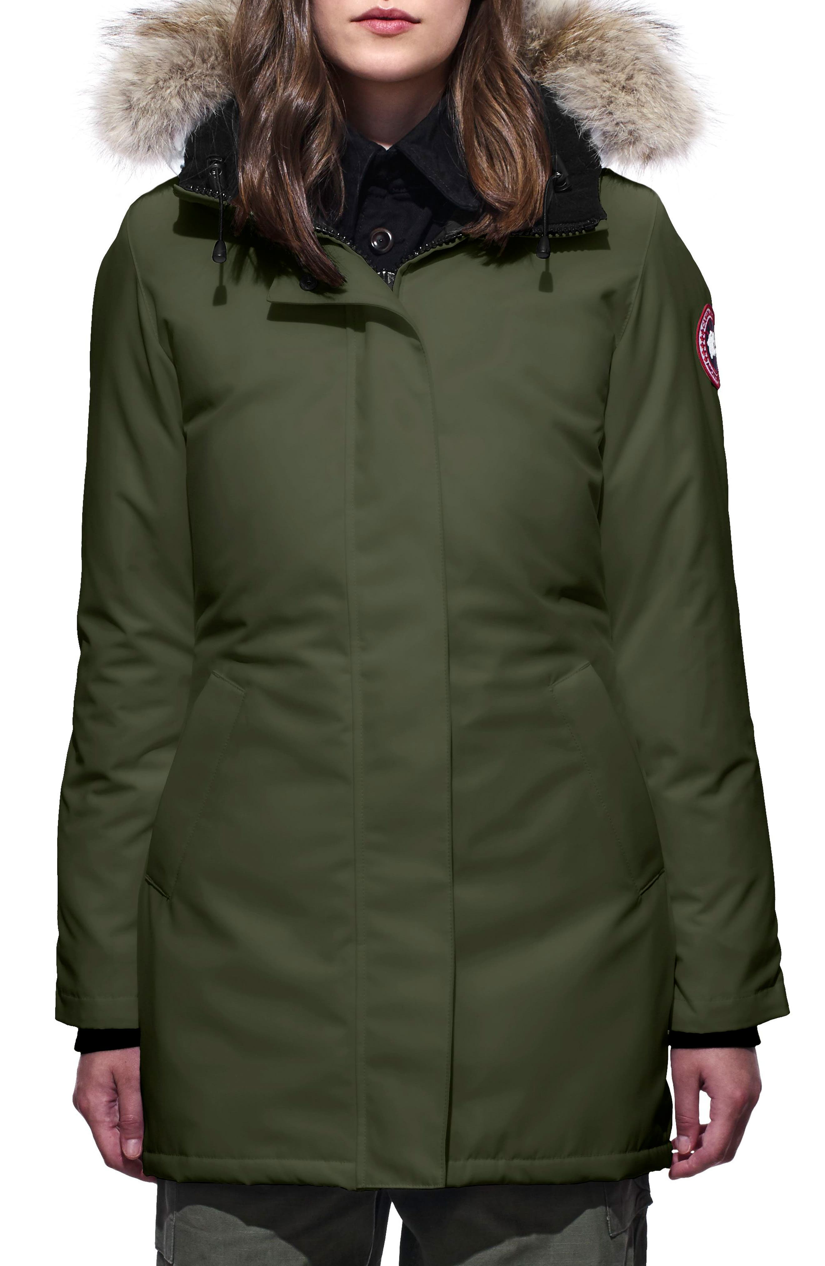 CANADA GOOSE, Victoria Fusion Fit Down Parka with Genuine Coyote Fur Trim, Main thumbnail 1, color, MILITARY GREEN