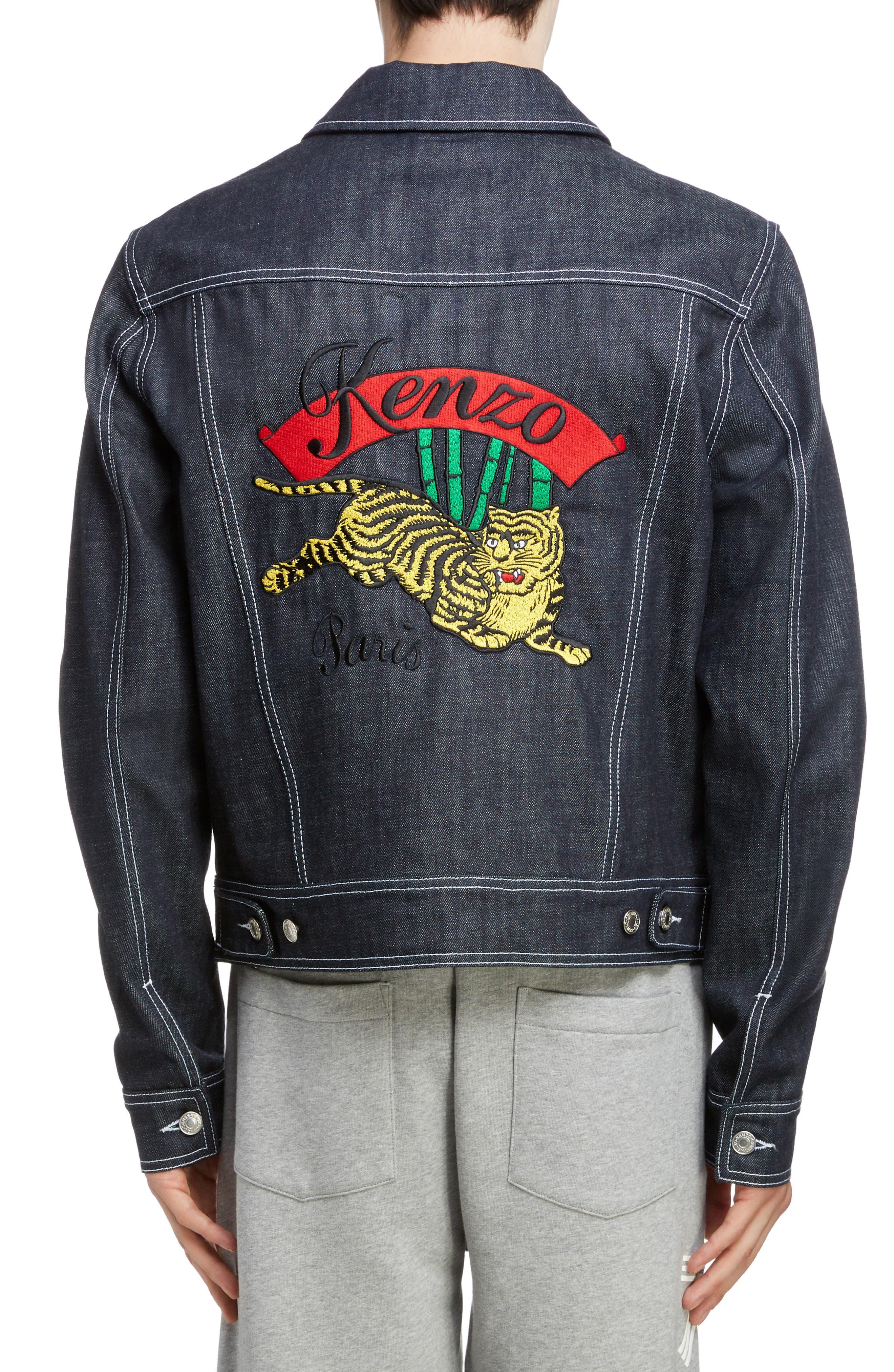 KENZO, Jumping Tiger Embroidered Denim Jacket, Alternate thumbnail 2, color, NAVY BLUE