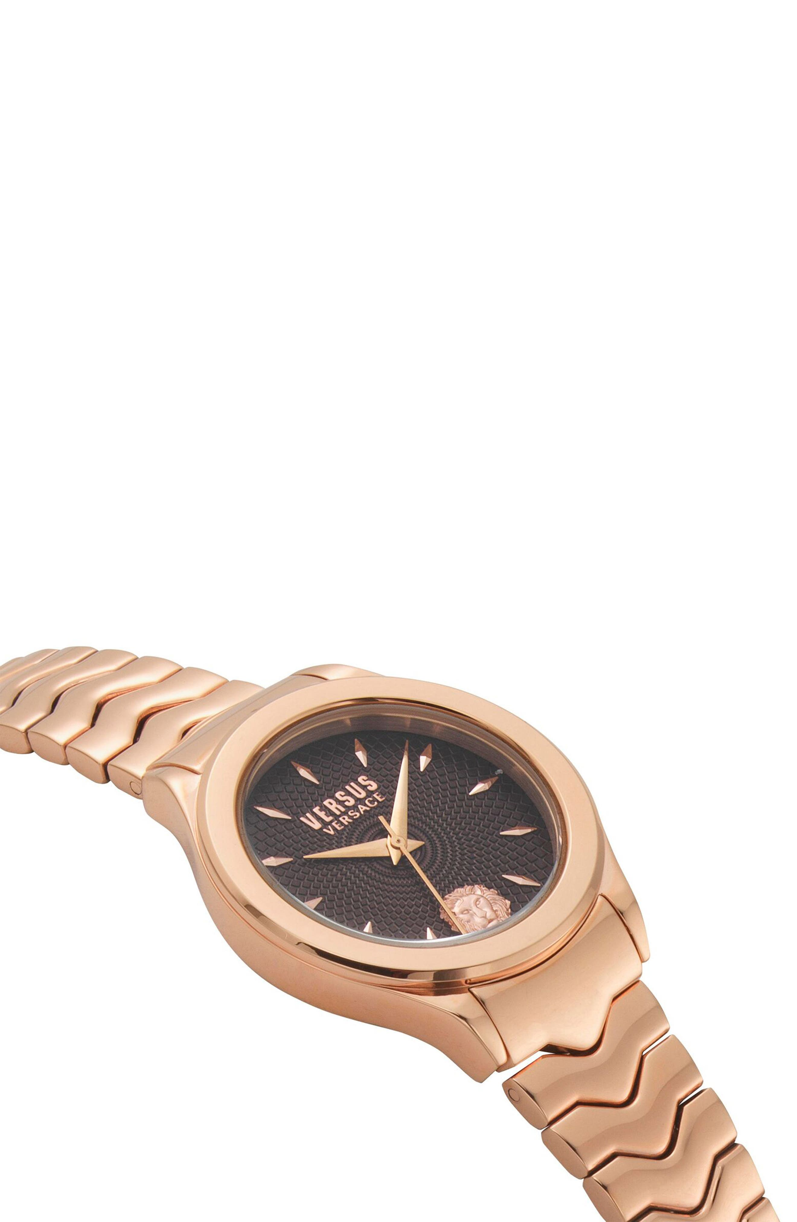 VERSUS VERSACE, Mount Pleasant Bracelet Watch, 34mm, Alternate thumbnail 3, color, ROSE GOLD/ BLACK/ ROSE GOLD