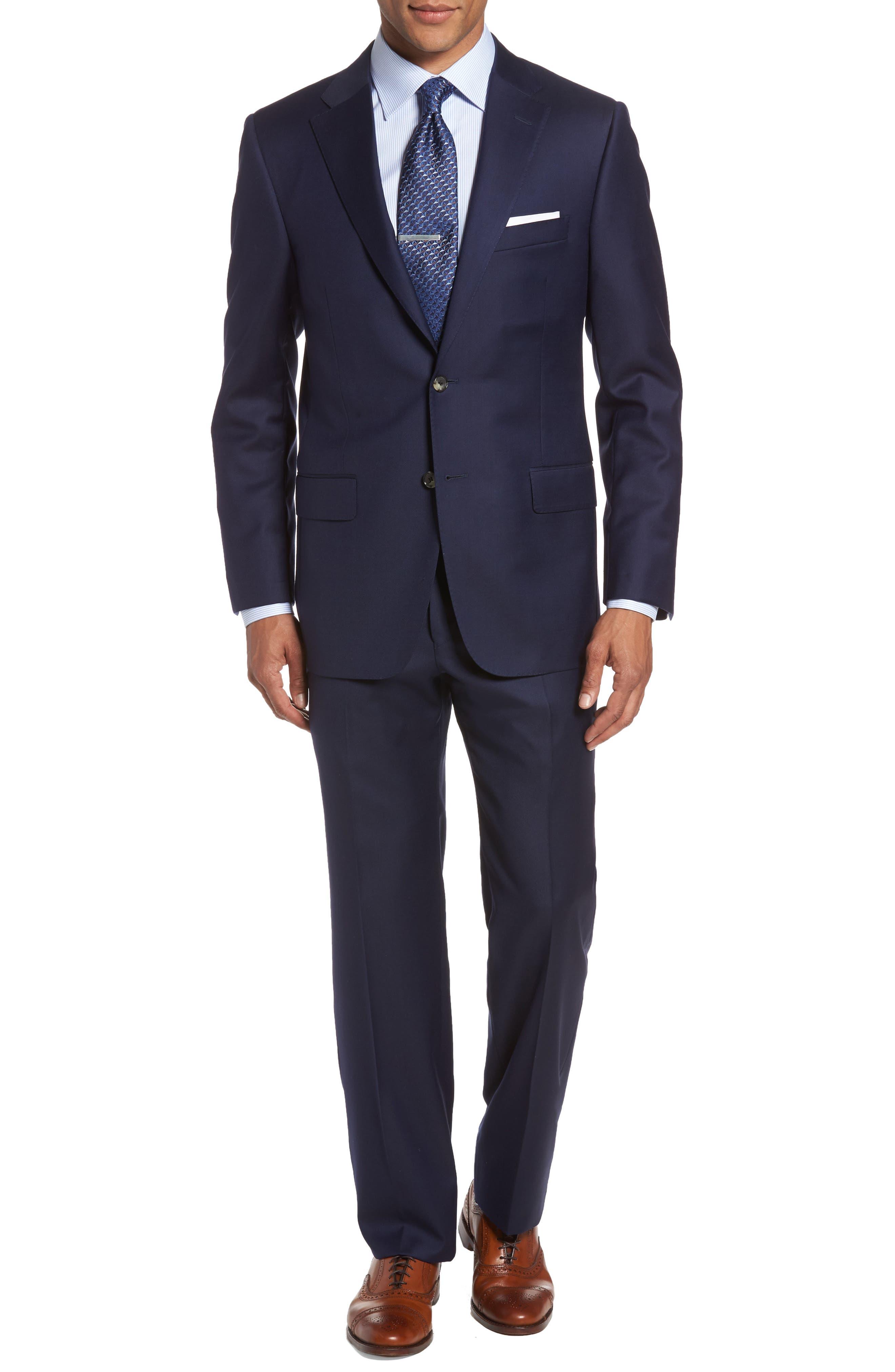 HICKEY FREEMAN, Classic B Fit Loro Piana Wool Suit, Main thumbnail 1, color, NAVY
